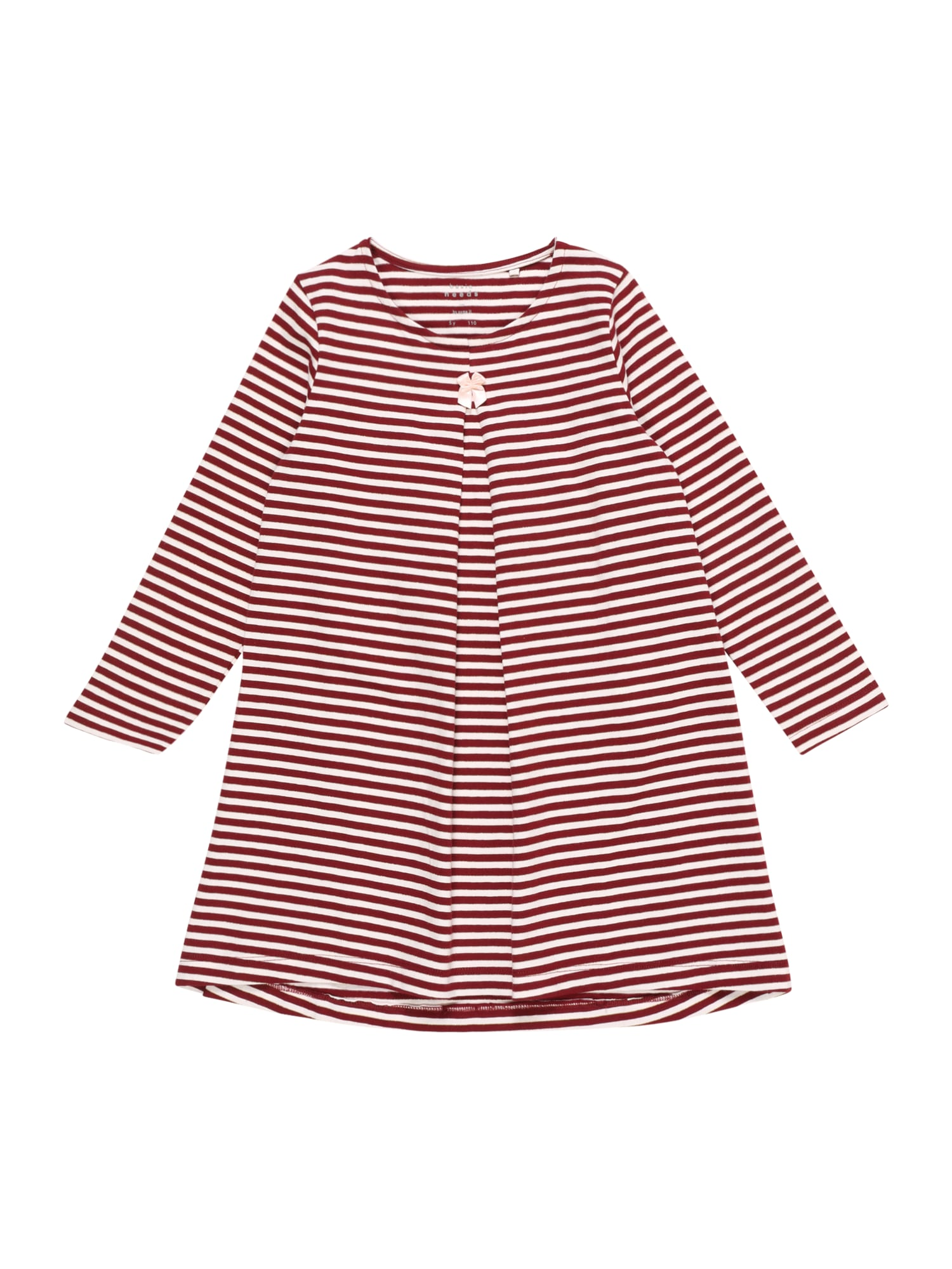 NAME IT Šaty 'NMFVERDI LS DRESS R'  vínovo červená / biela