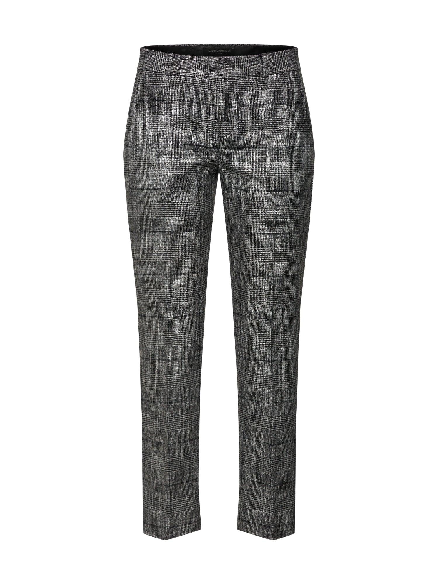 Kalhoty s puky AVERY TEXTURED MENSWEAR PLAID grau schwarz Banana Republic