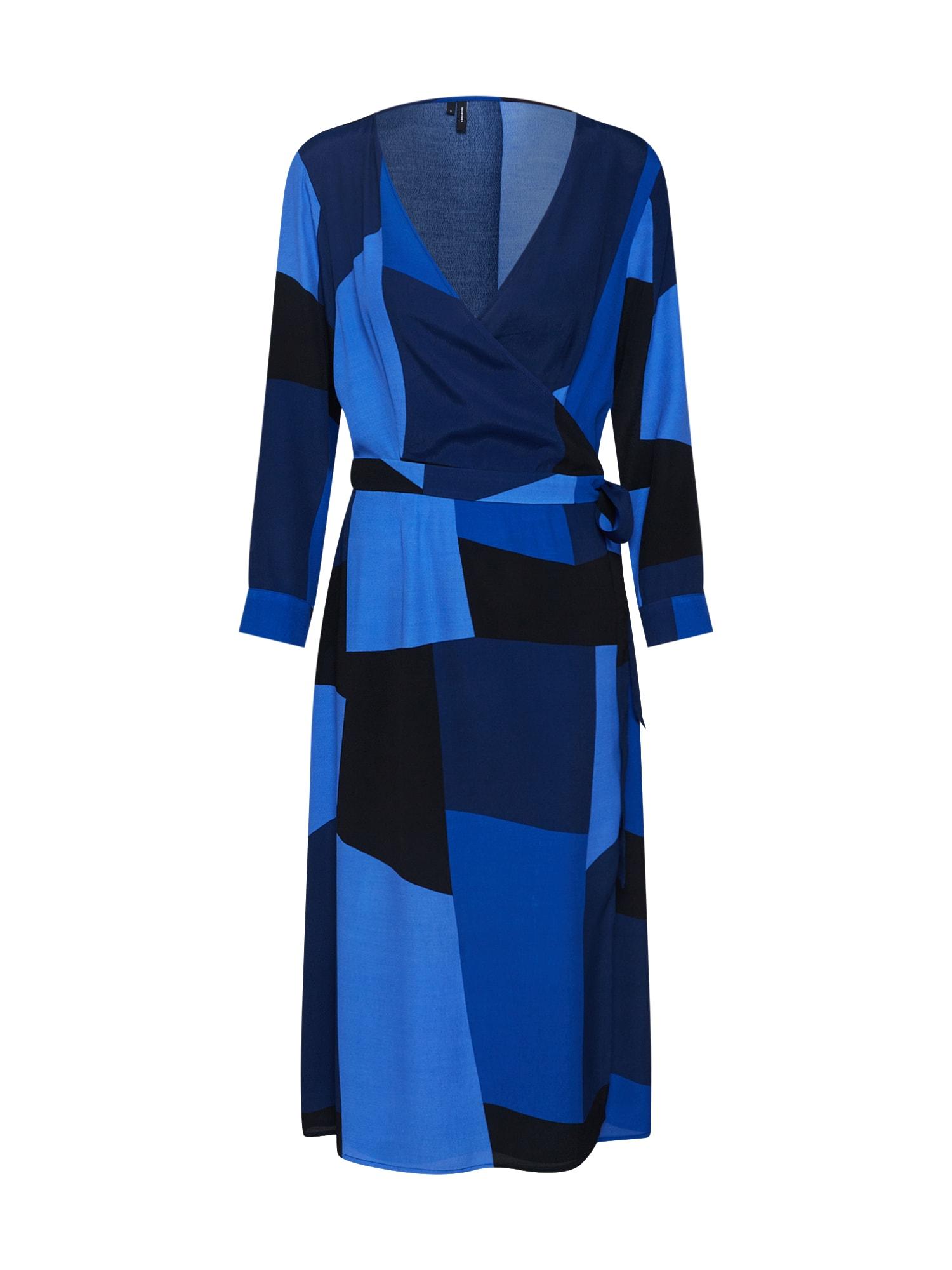 Šaty VMMOLLY WRAP 78 CALF DRESS světlemodrá tmavě modrá VERO MODA