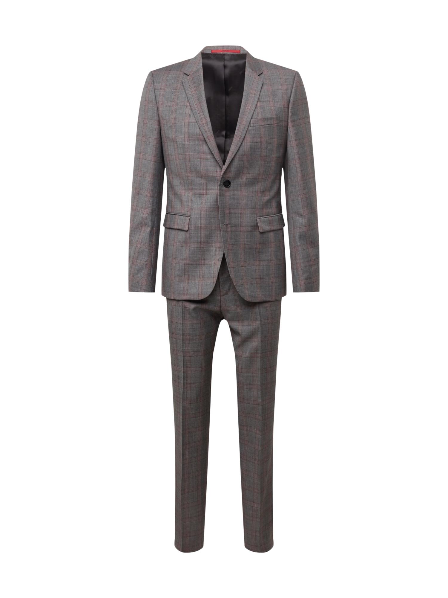 Oblek šedá červená HUGO