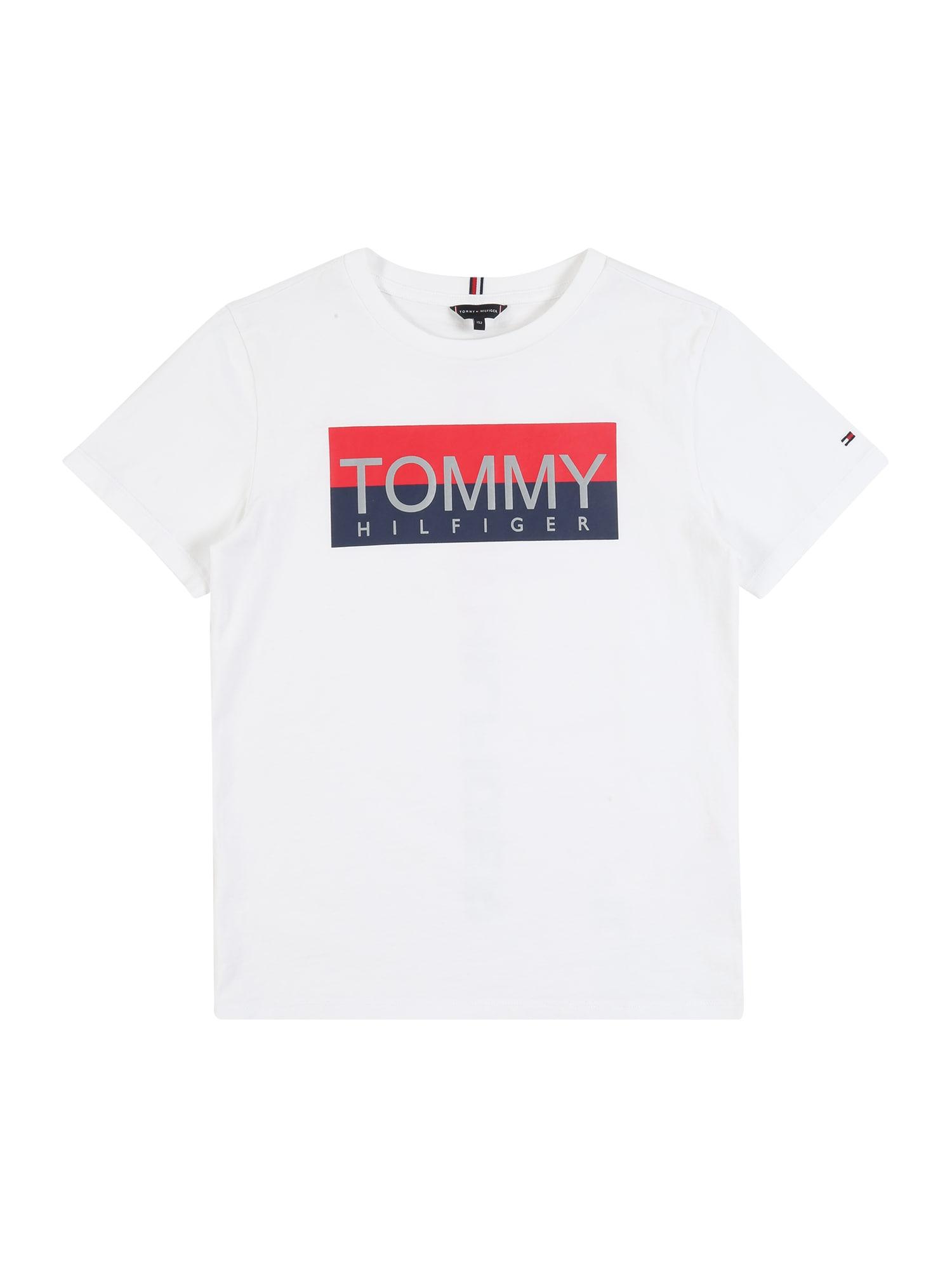TOMMY HILFIGER Tričko  bílá / červená / modrá