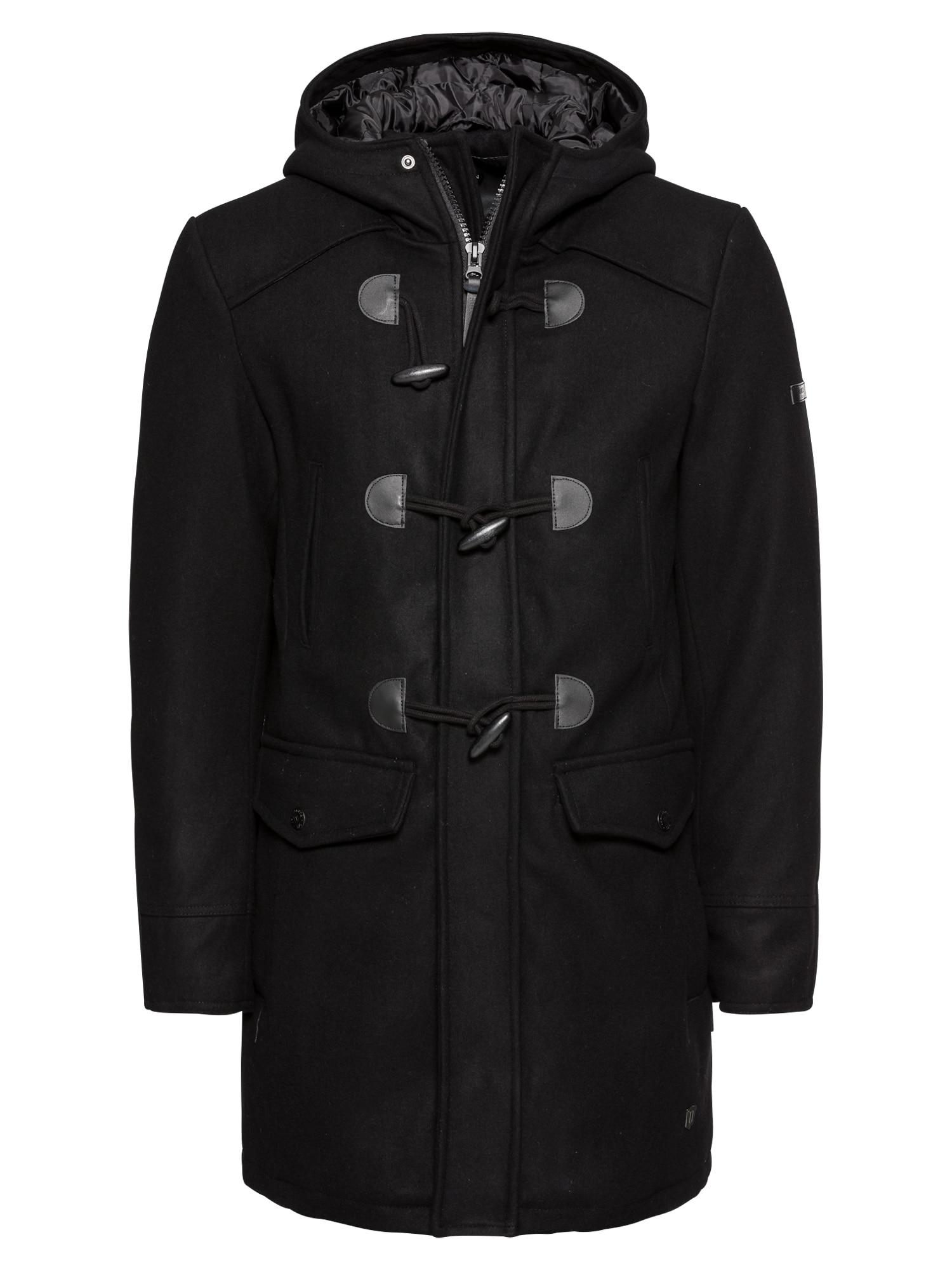 Zimní kabát Liam Solid černá INDICODE JEANS