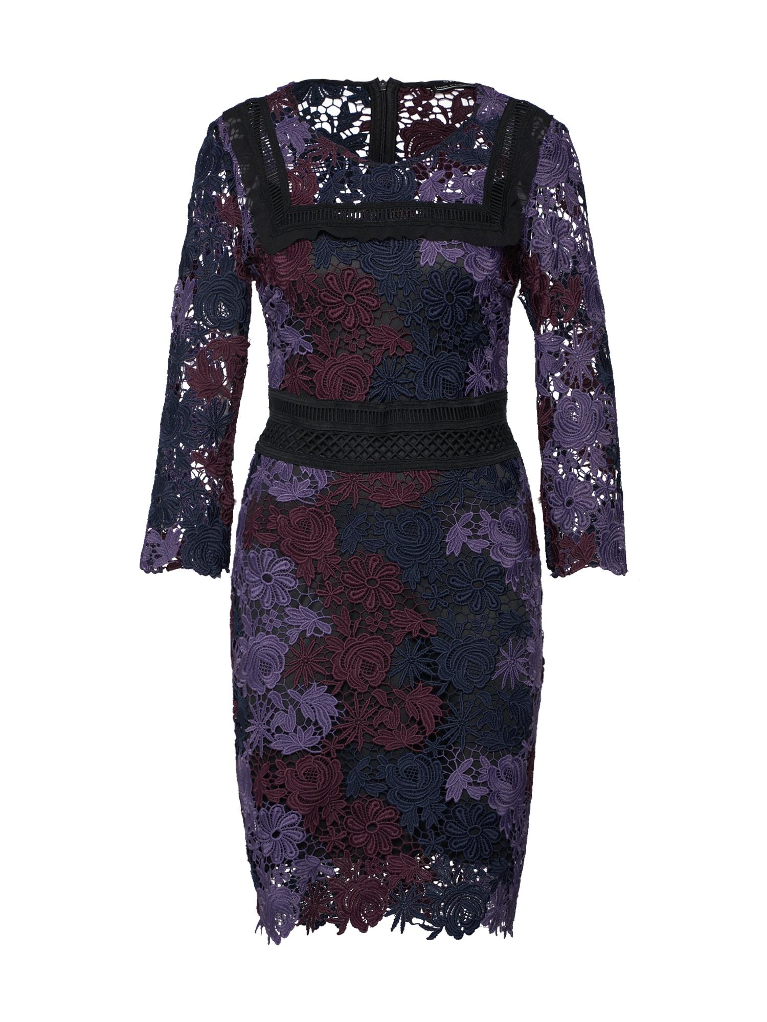 Koktejlové šaty fialová černá SET
