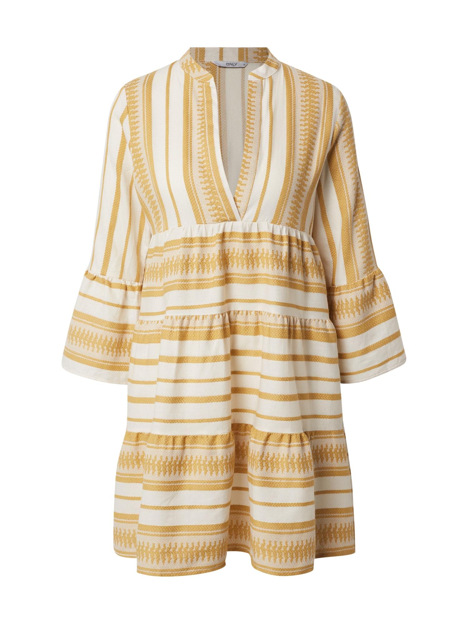 ONLY Šaty 'ONLSALLY ATHENA'  zlatě žlutá / offwhite