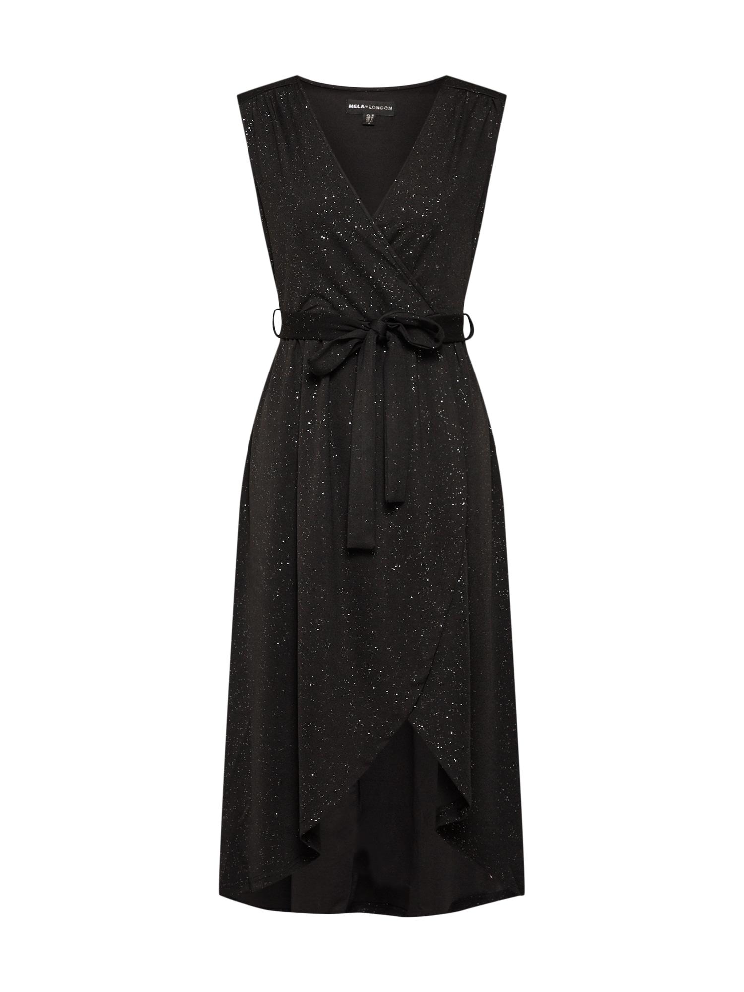 Šaty GLITZ MIDI DRESS černá stříbrná Mela London
