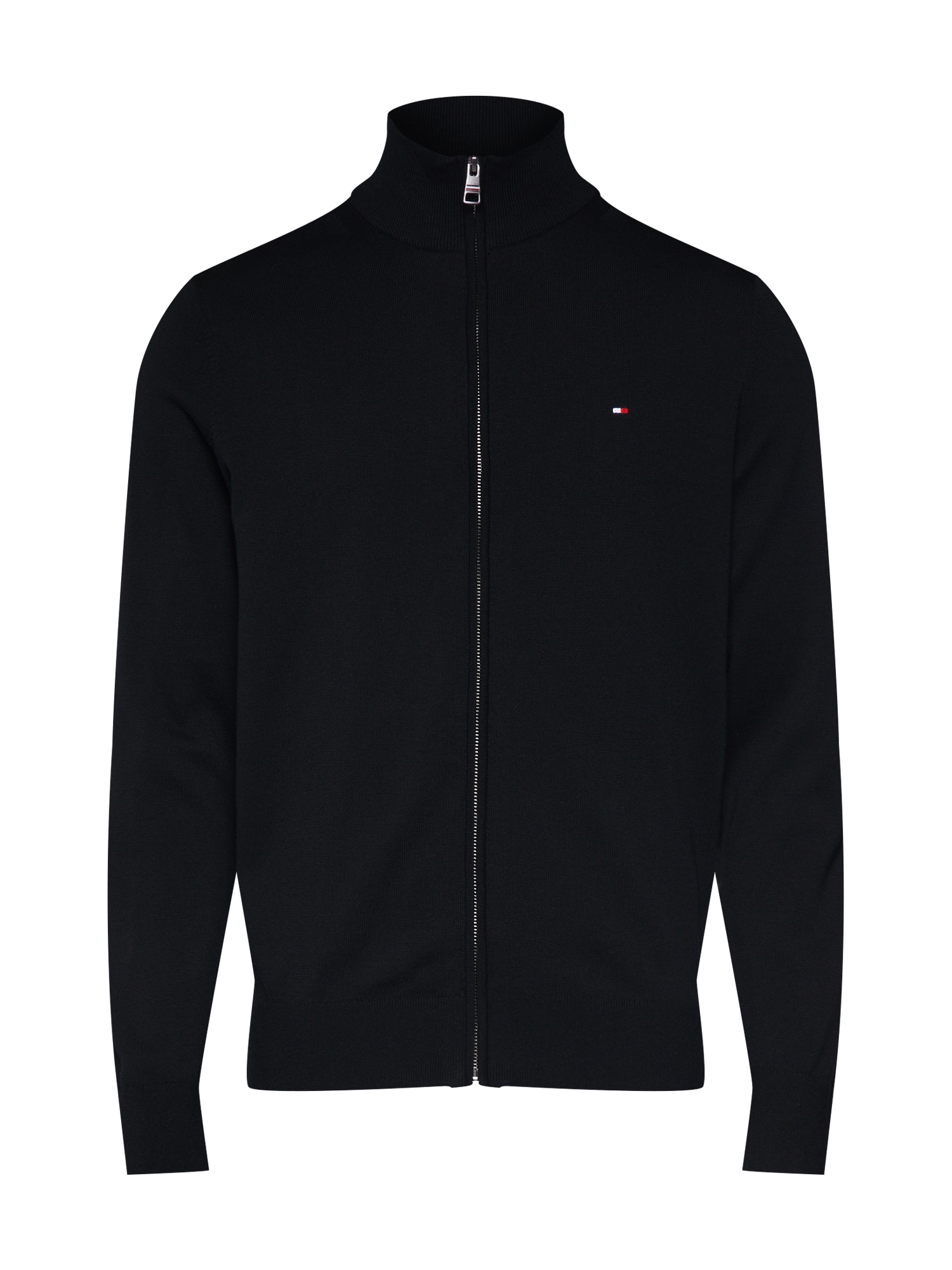 Kardigan ORGANIC COTTON SILK ZIP THROUGH černá TOMMY HILFIGER