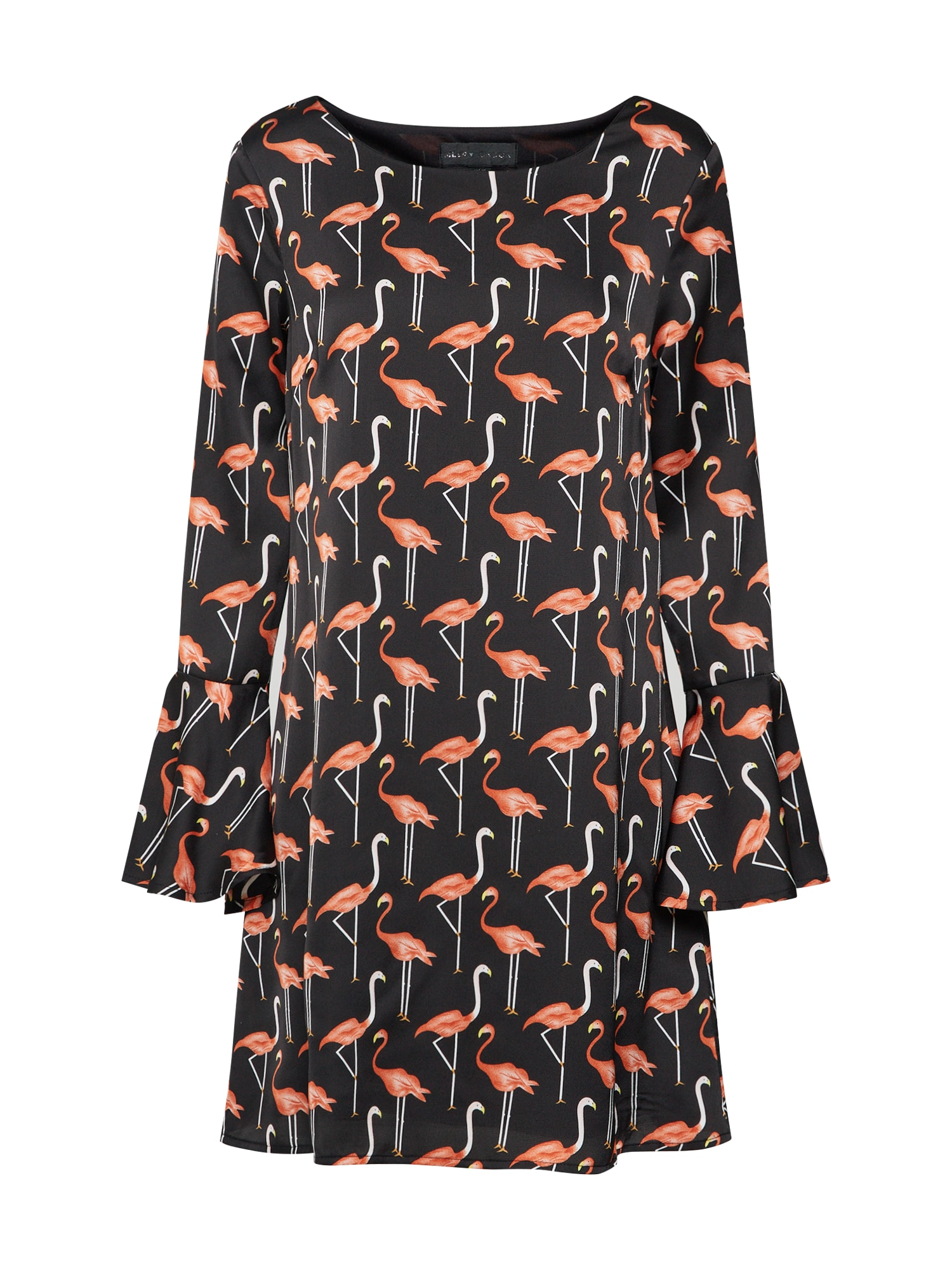 Šaty Flamingo Print Tunic Dress oranžově červená černá Mela London