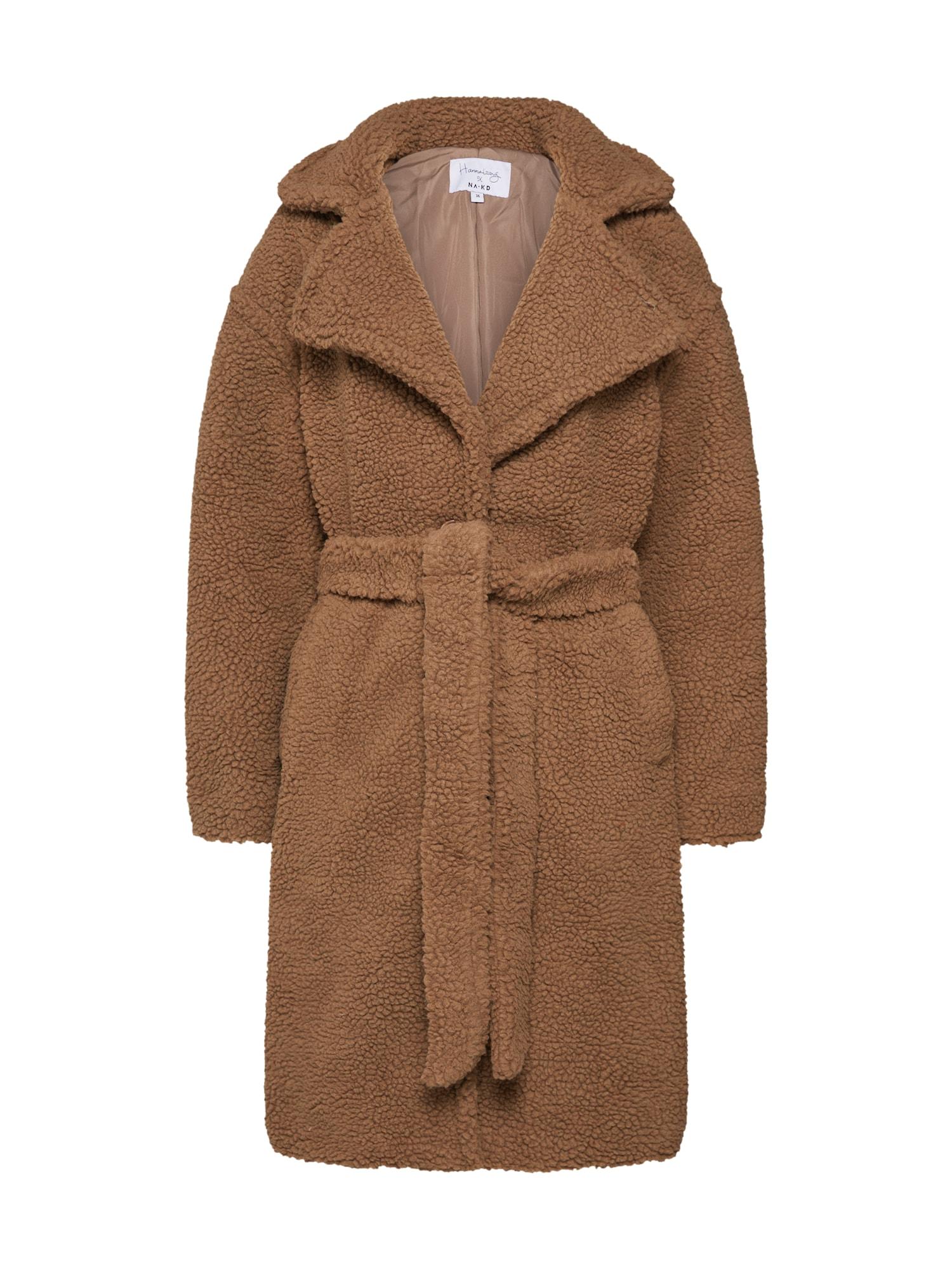 Zimní kabát midi teddy coat hnědá NA-KD