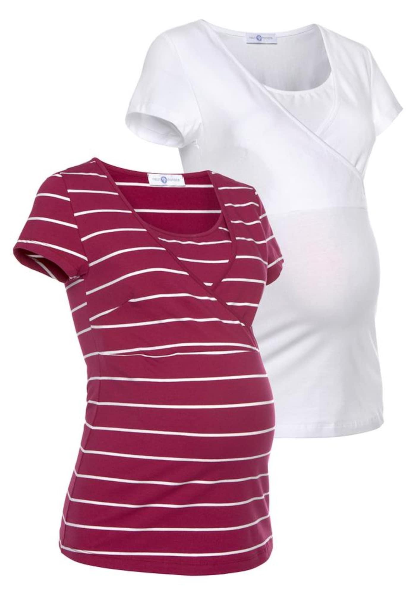 Umstandsshirt | Bekleidung > Umstandsmode > Umstandsshirts | Kirschrot - Weiß | neun monate