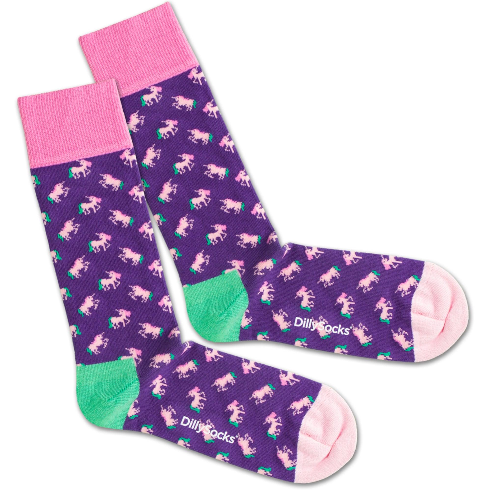 Ponožky Unique Purple mátová fialkově modrá růžová DillySocks