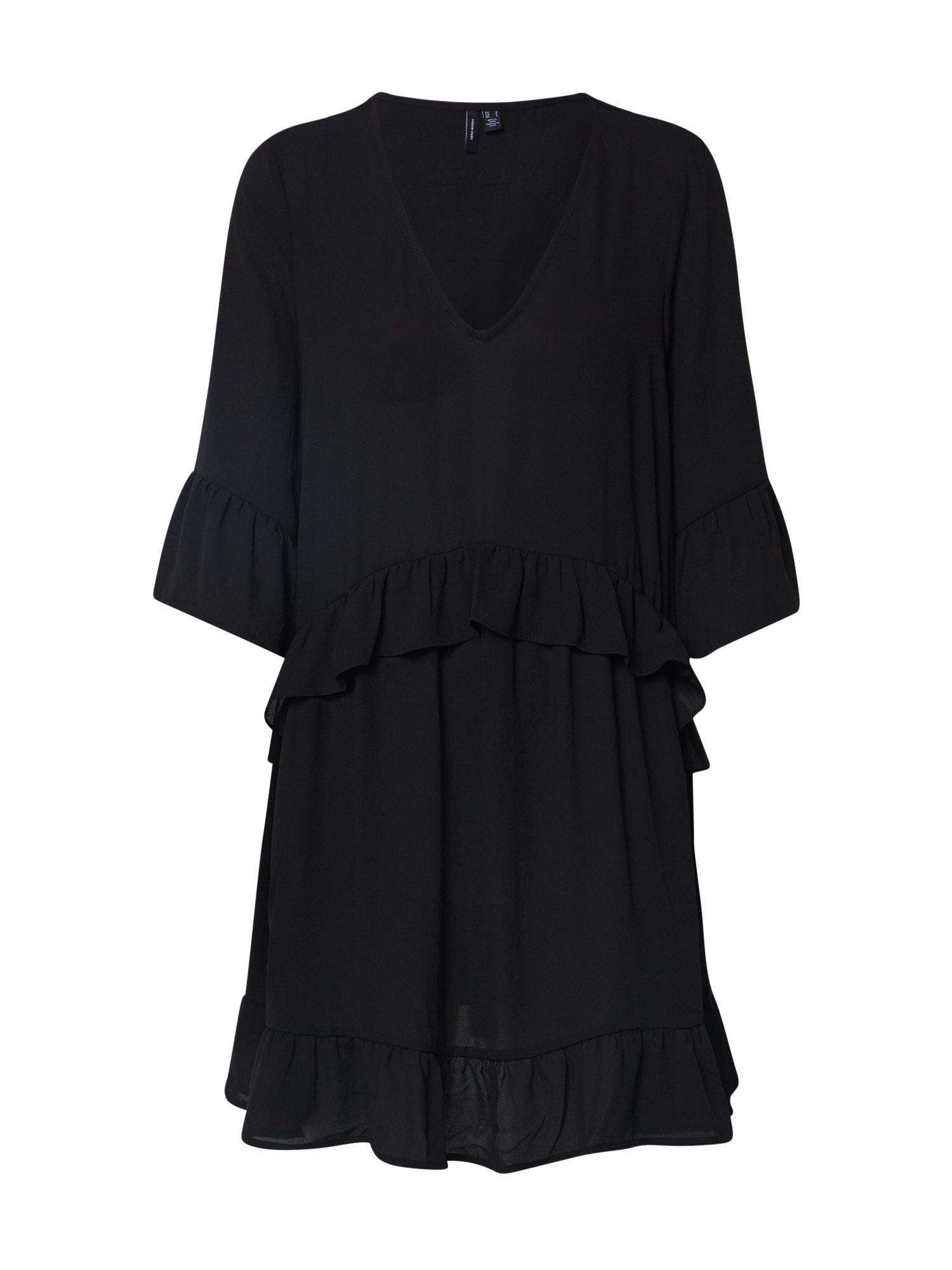 VERO MODA Letné šaty 'VMCASSIE ZIGGA 3/4 TUNIC'  čierna