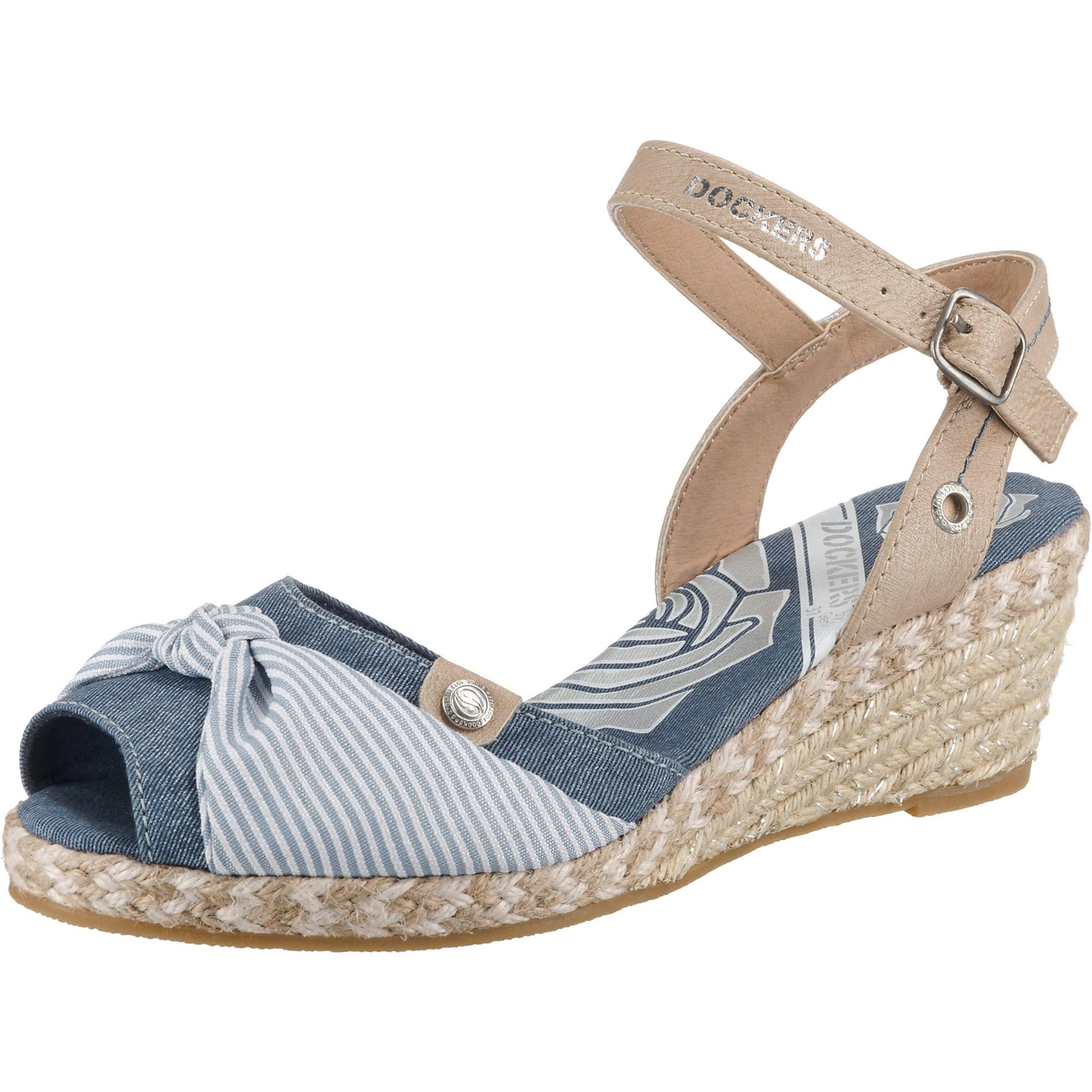 Páskové sandály velbloudí modrá džínovina Dockers By Gerli