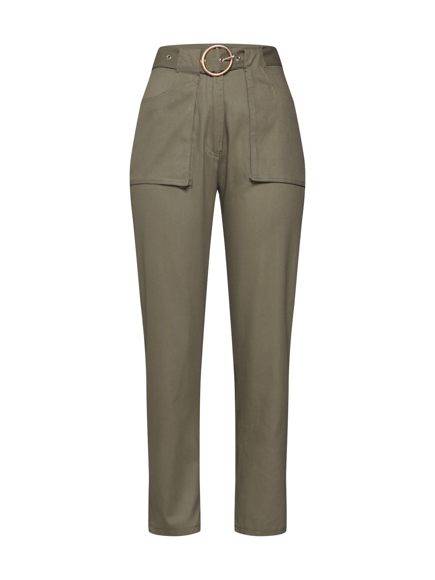 Chino kalhoty POCKET CIRCLE BELT CIGARETTE khaki Missguided