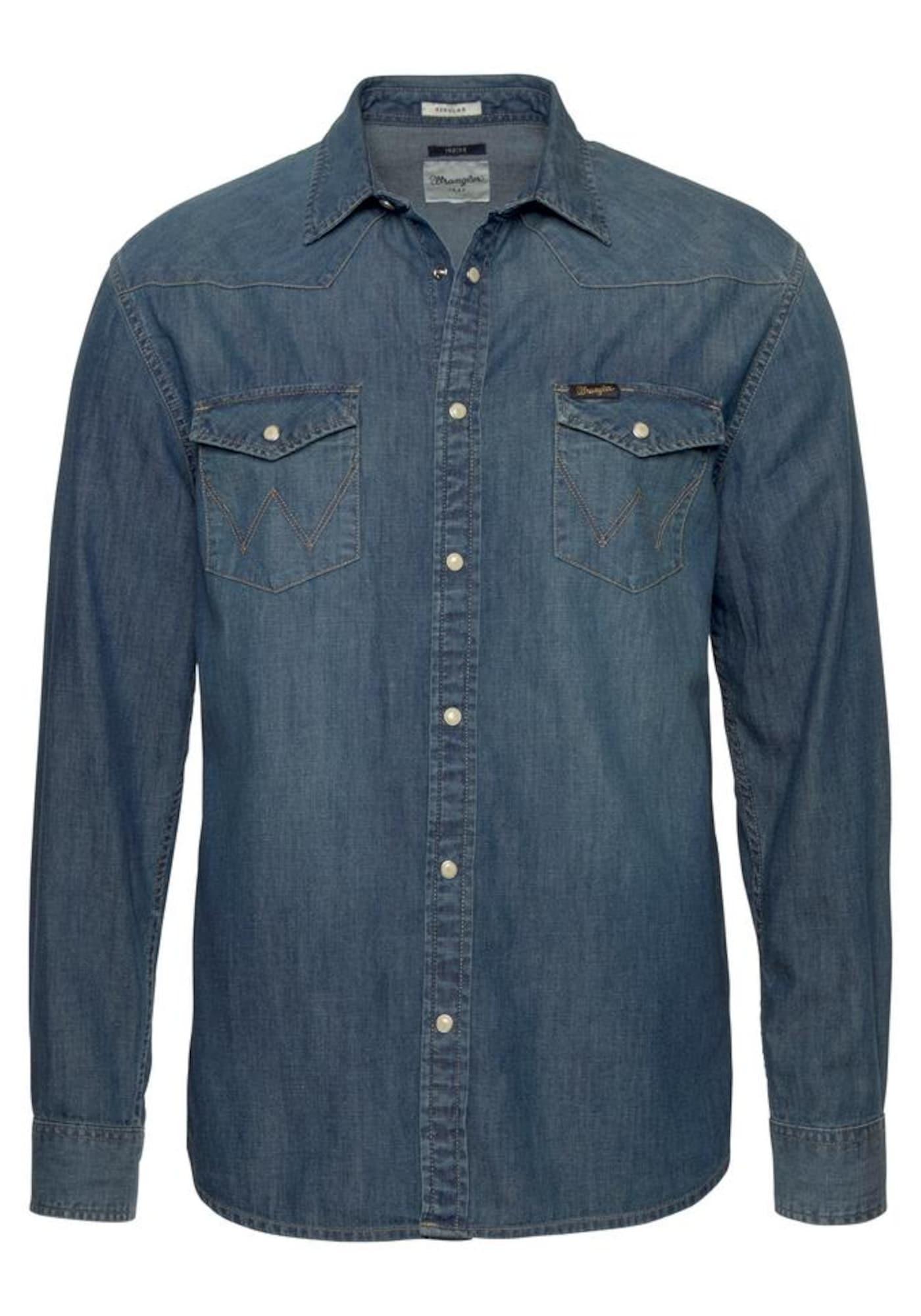 WRANGLER Heren Overhemd blue denim