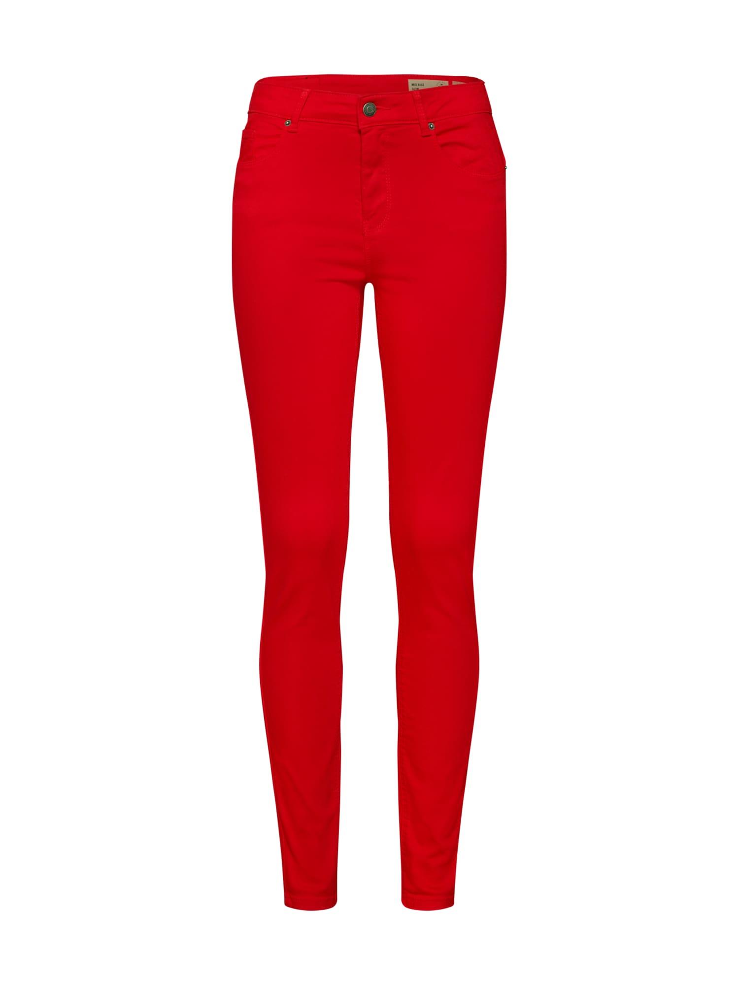 Kalhoty VMHOT SEVEN MR SLIM PUSH UP PANTS NOOS ohnivá červená VERO MODA