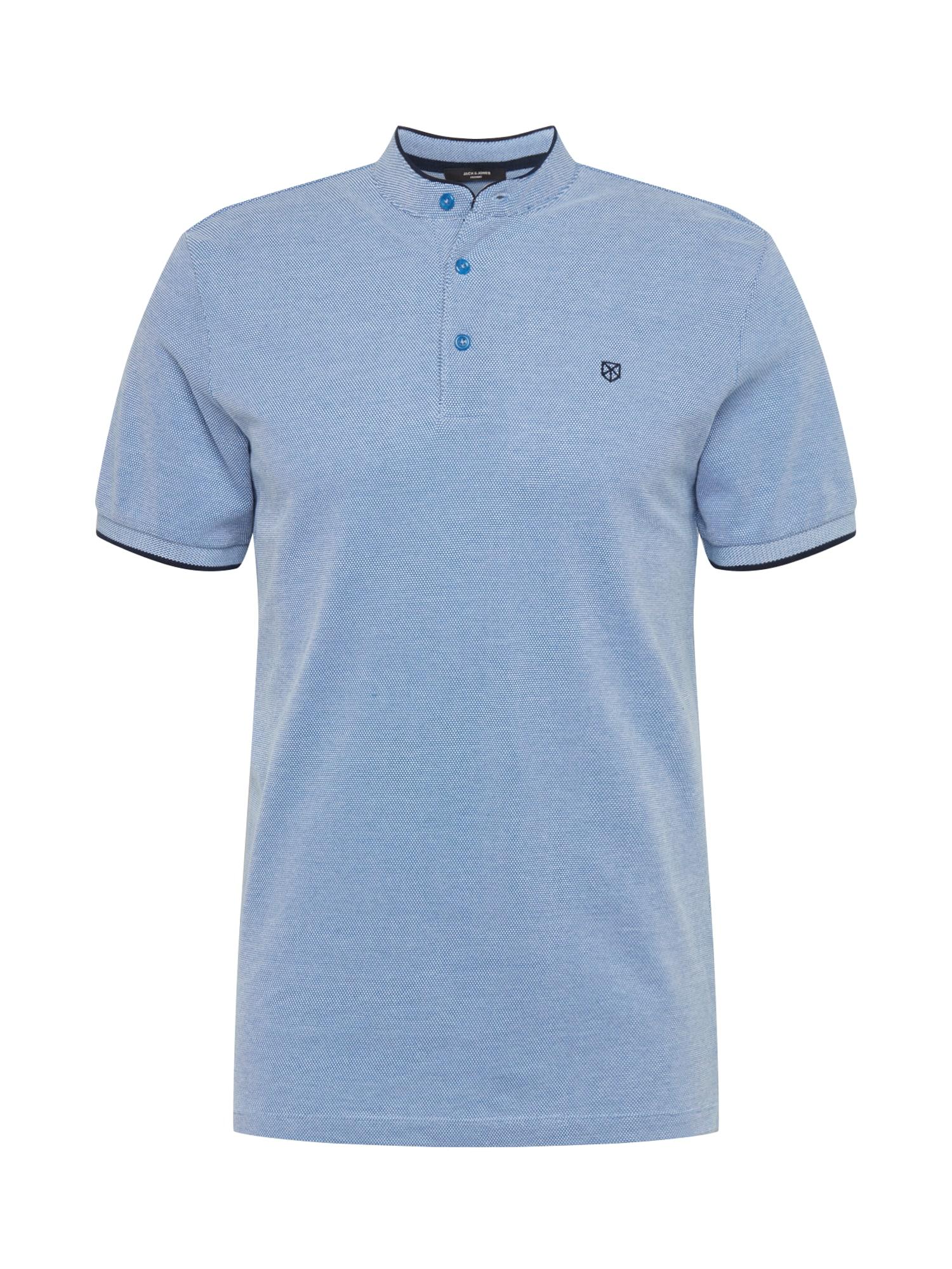 JACK & JONES Tričko  bílá / kobaltová modř