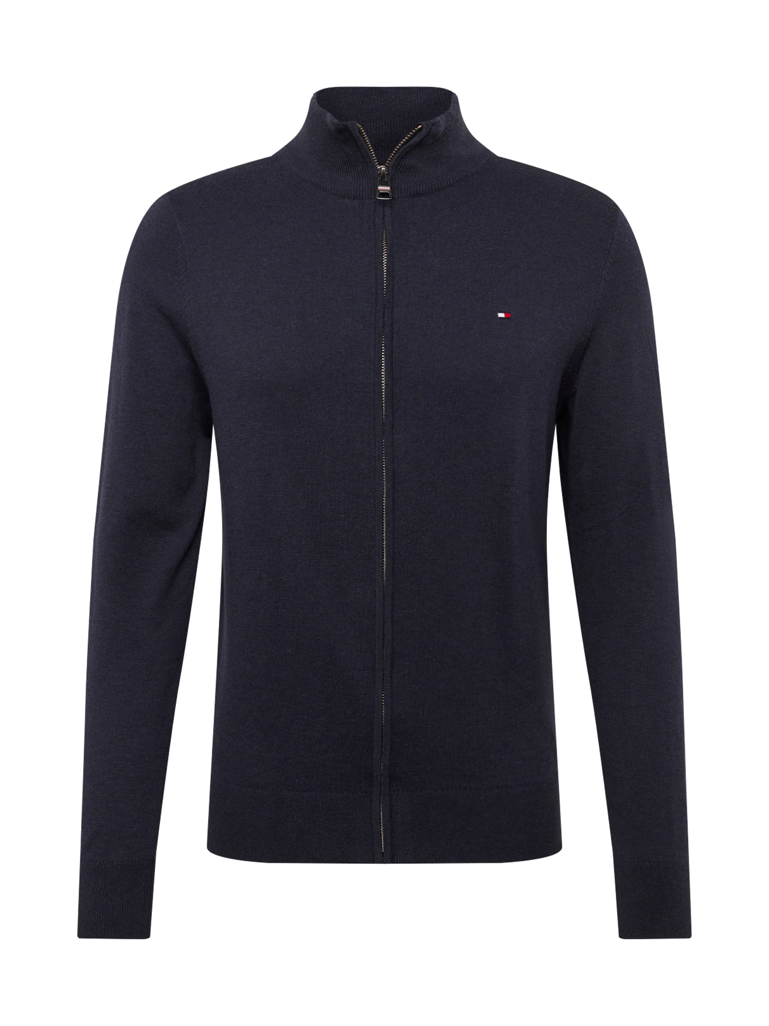 Kardigan ORGANIC COTTON SILK ZIP THROUGH tmavě modrá TOMMY HILFIGER
