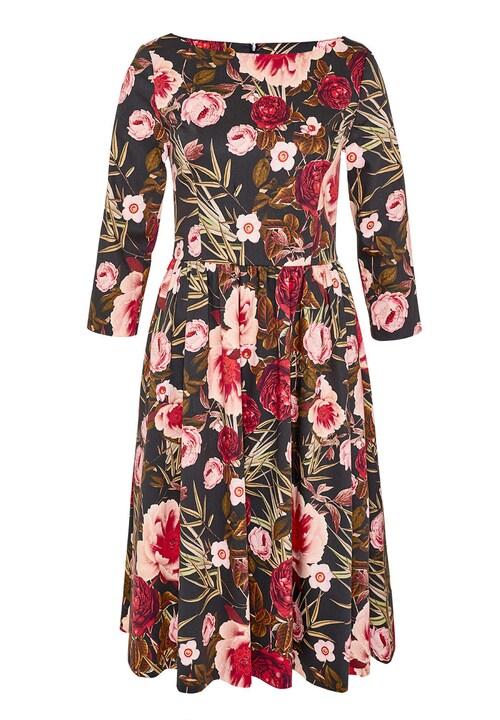 A-Linien-Kleid mit Rosendruck