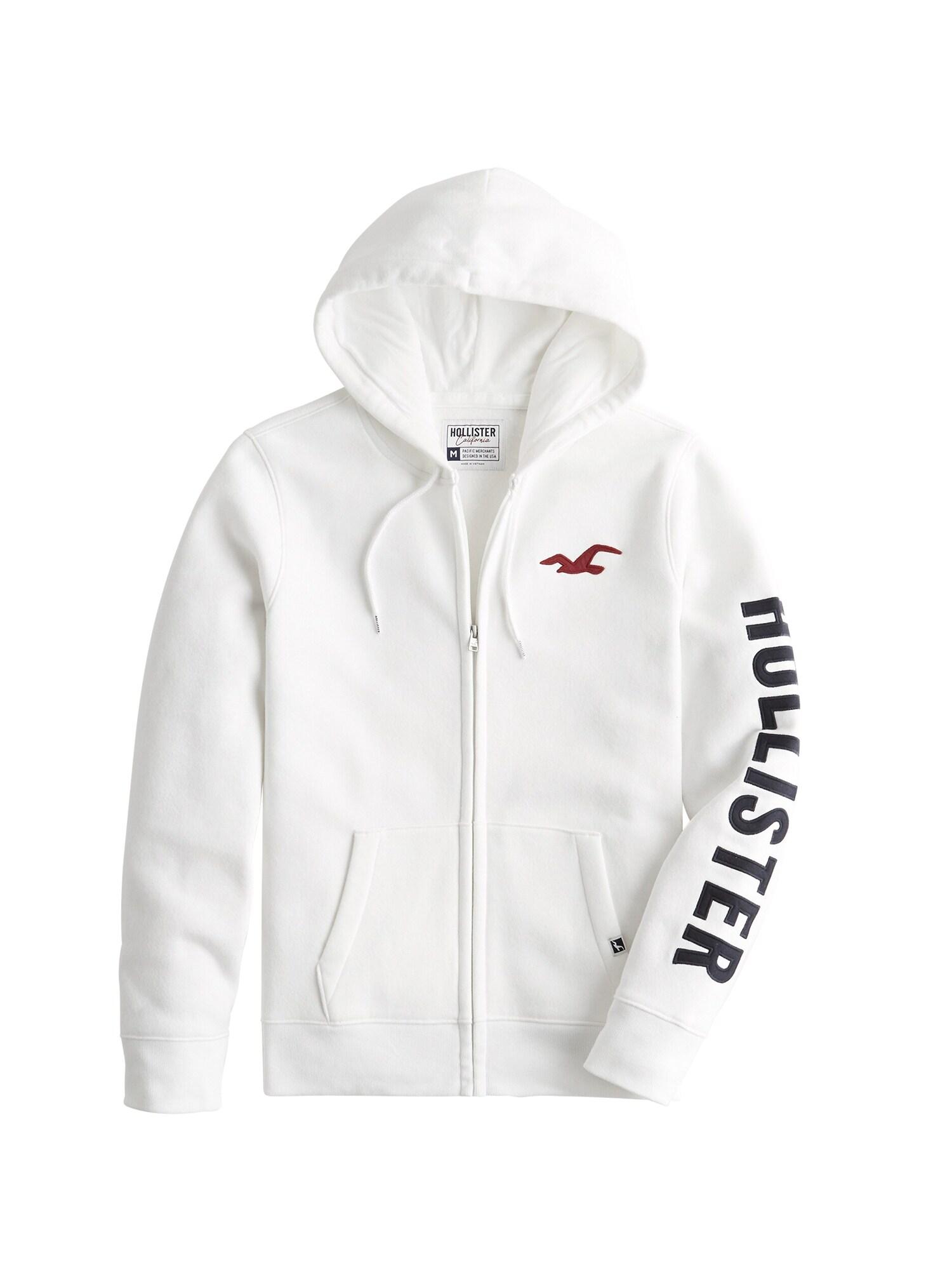 HOLLISTER Mikina s kapucí  bílá