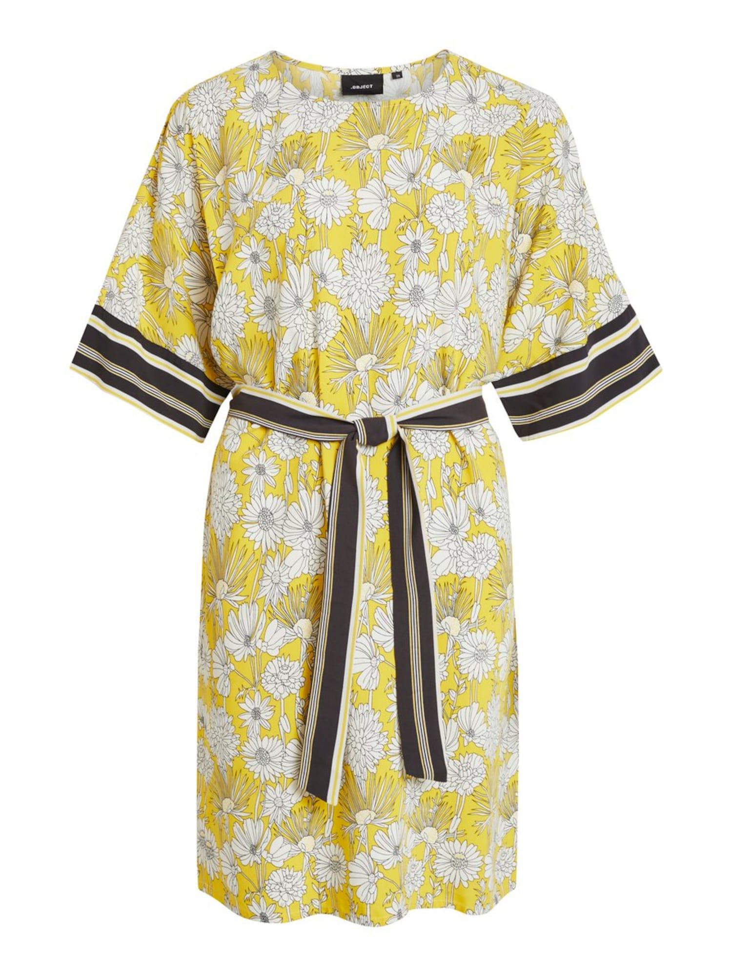 Letní šaty žlutá černá bílá OBJECT