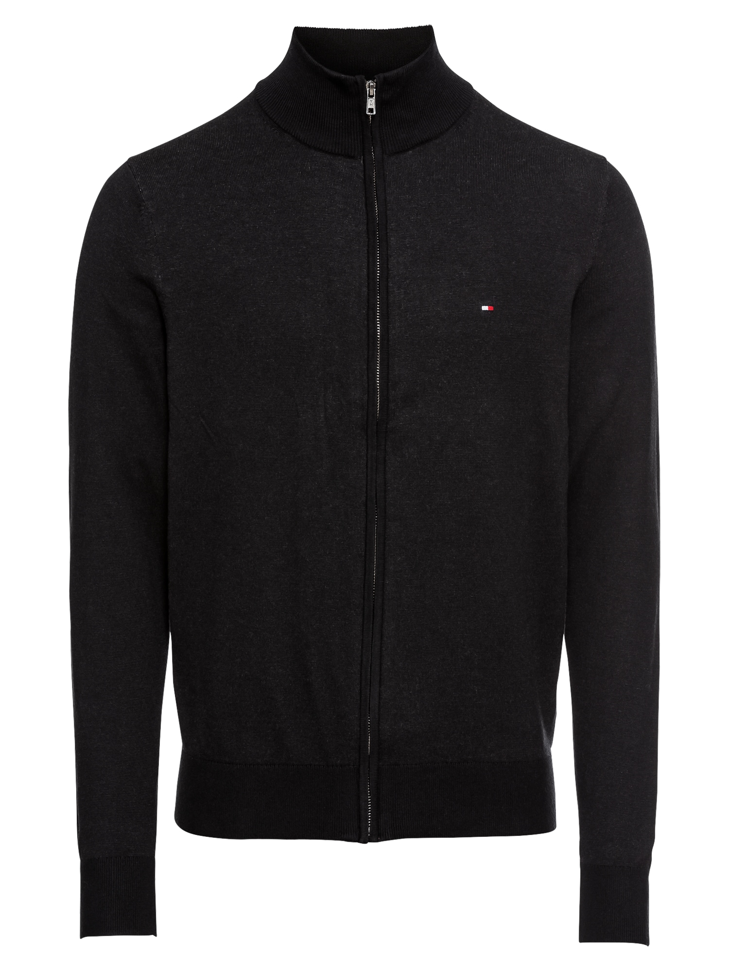 Kardigan COTTON SILK ZIP THROUGH černá TOMMY HILFIGER