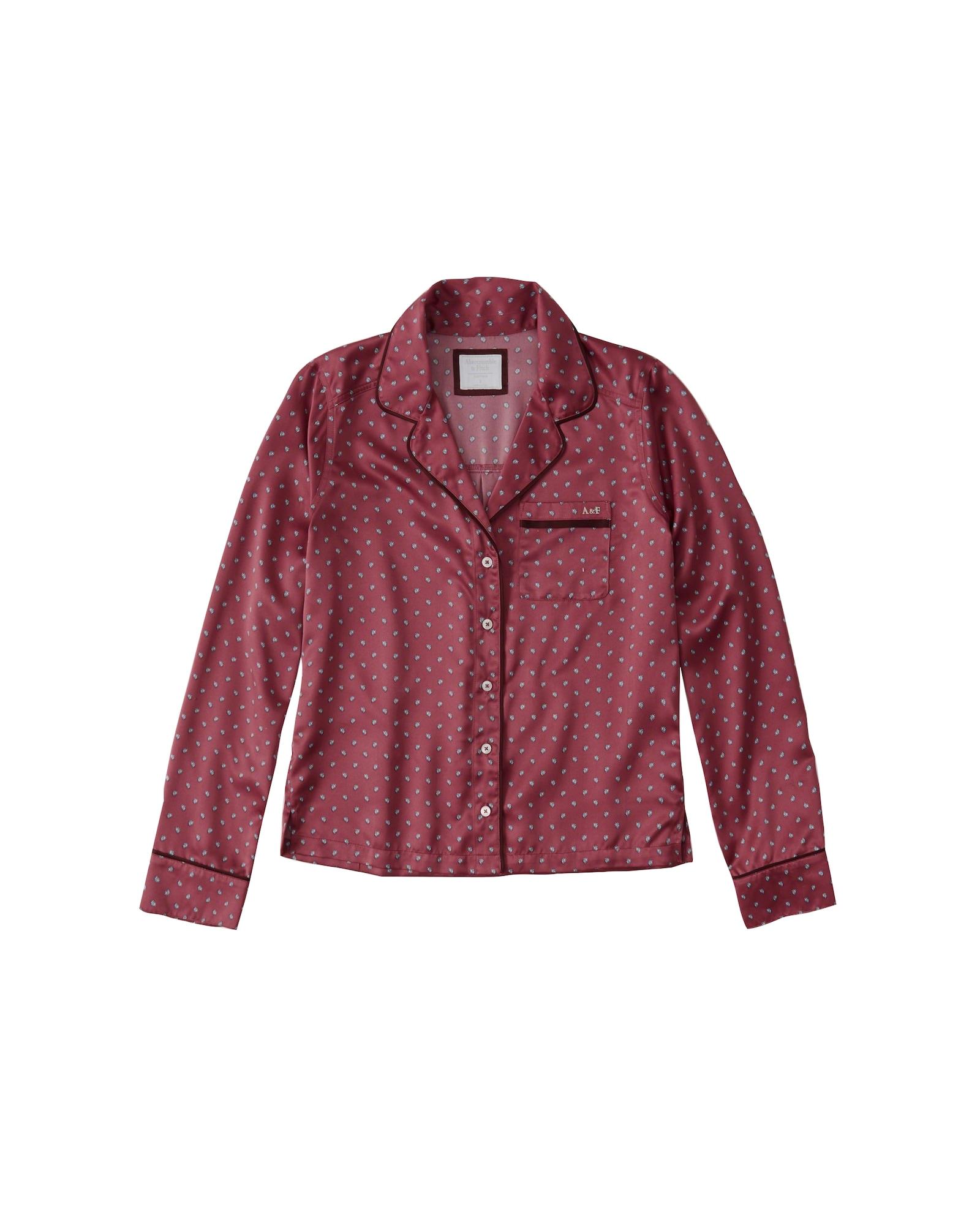 Tričko na spaní MENSWEAR LS SHIRT eosin Abercrombie & Fitch