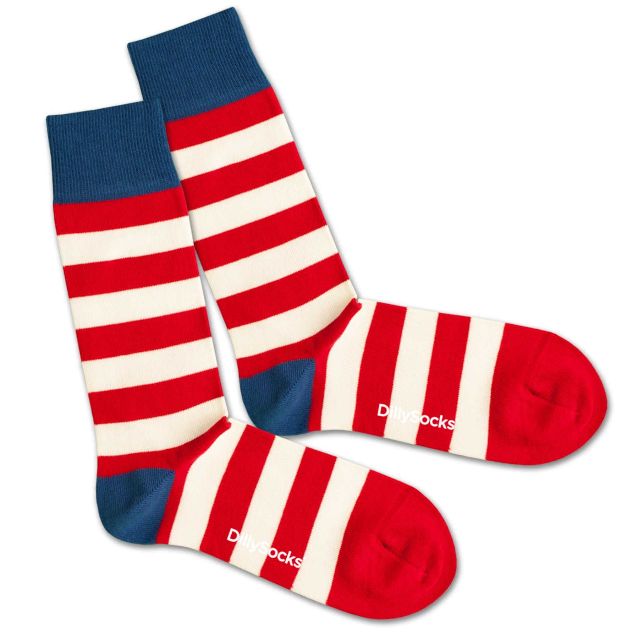 Ponožky Waldo modrá červená bílá DillySocks