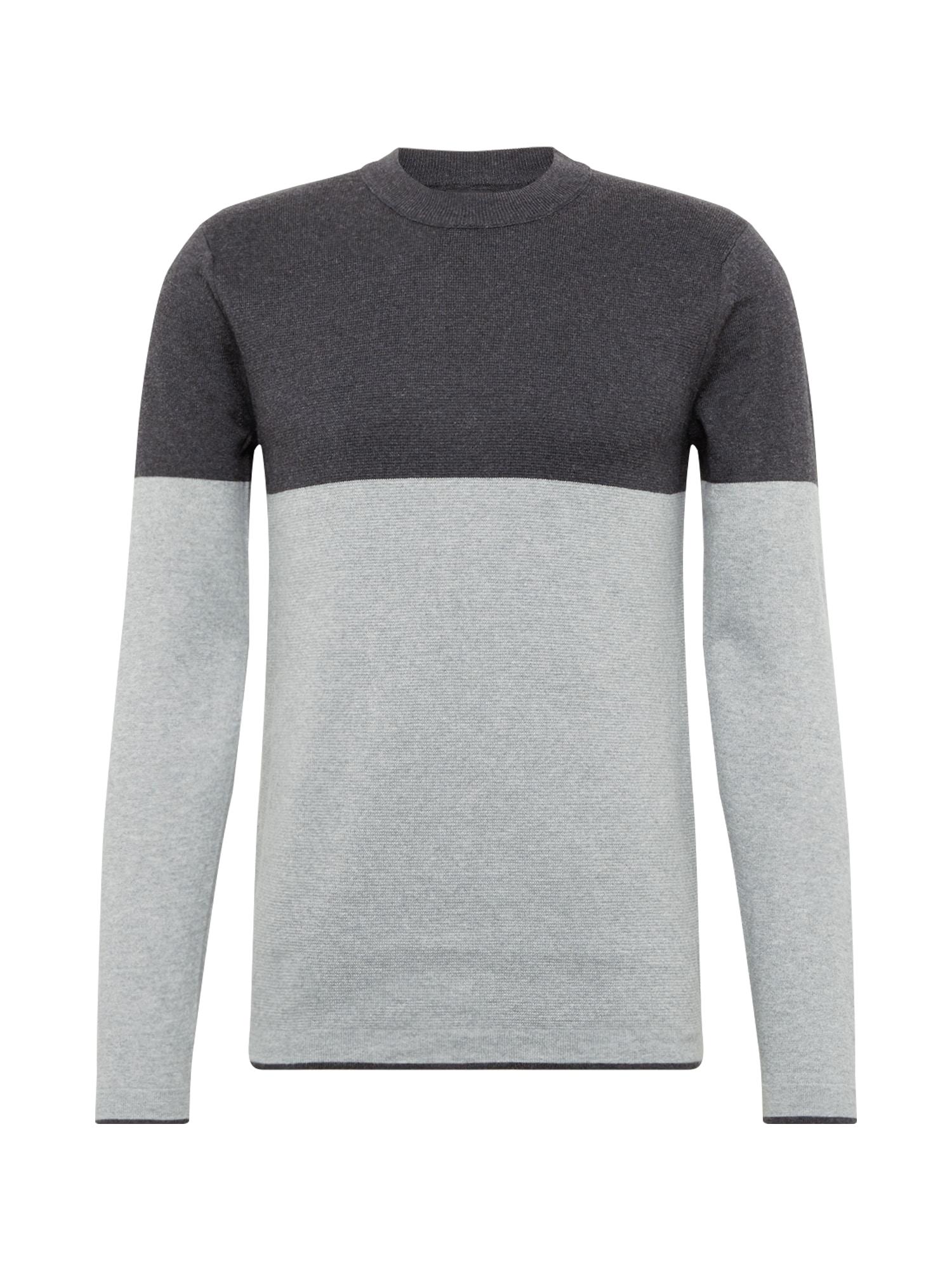 BURTON MENSWEAR LONDON Svetr 'tate colourblock charcoal grey'  šedá