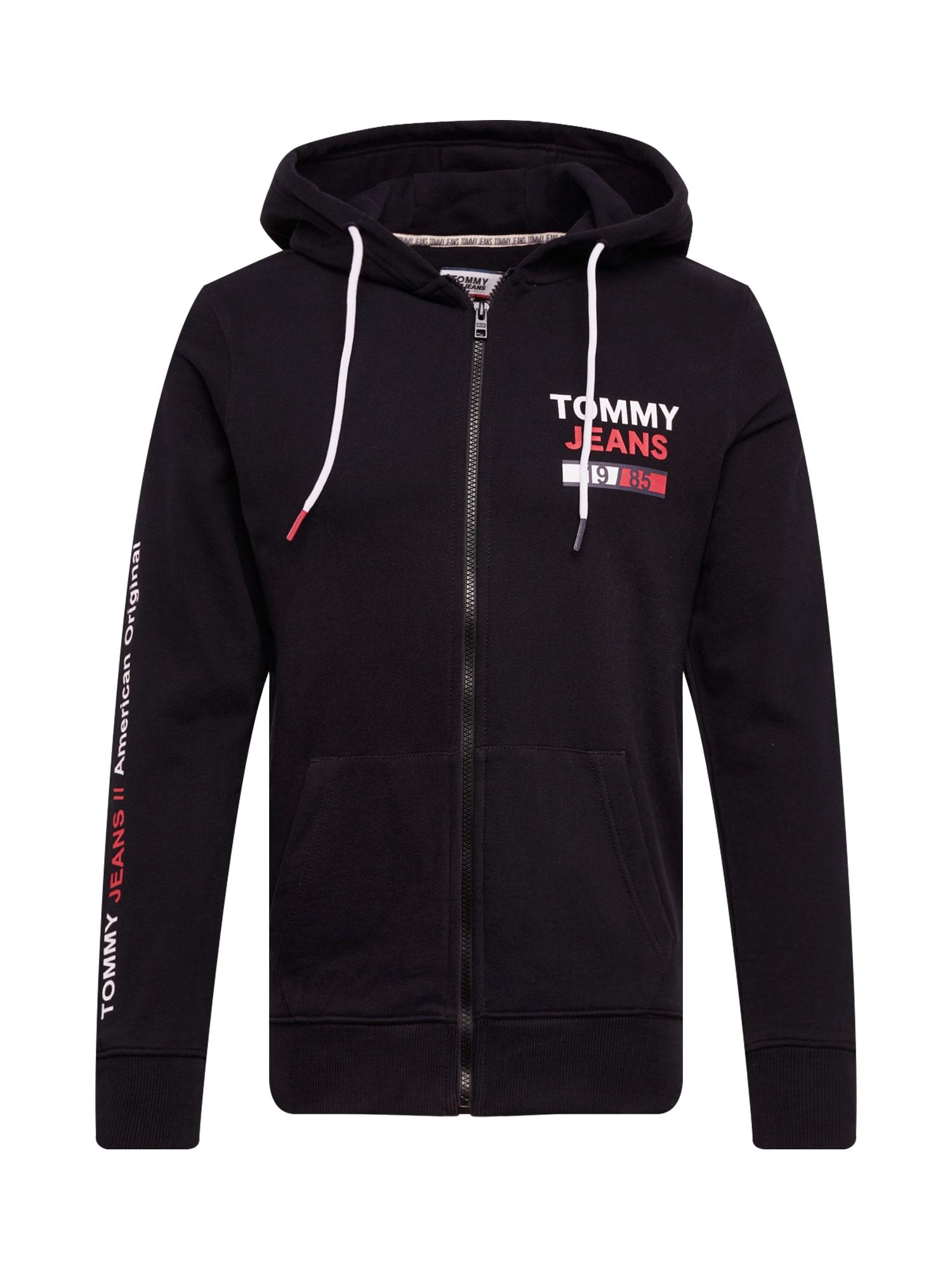 Tommy Jeans Mikina s kapucí 'TJM ESSENTIAL GRAPHIC ZIP TROUGH'  černá