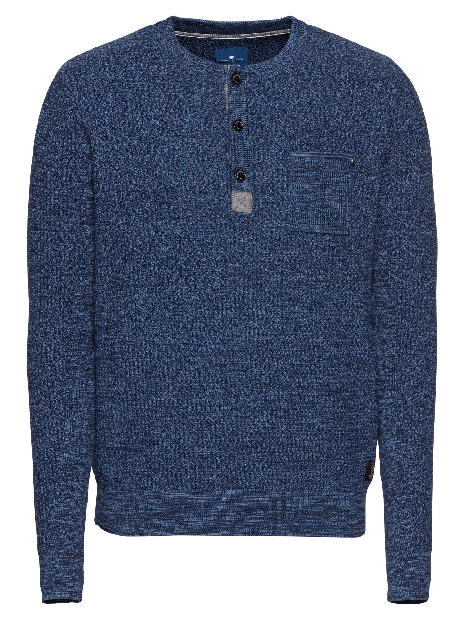 Svetr structured mouline sweater modrá TOM TAILOR