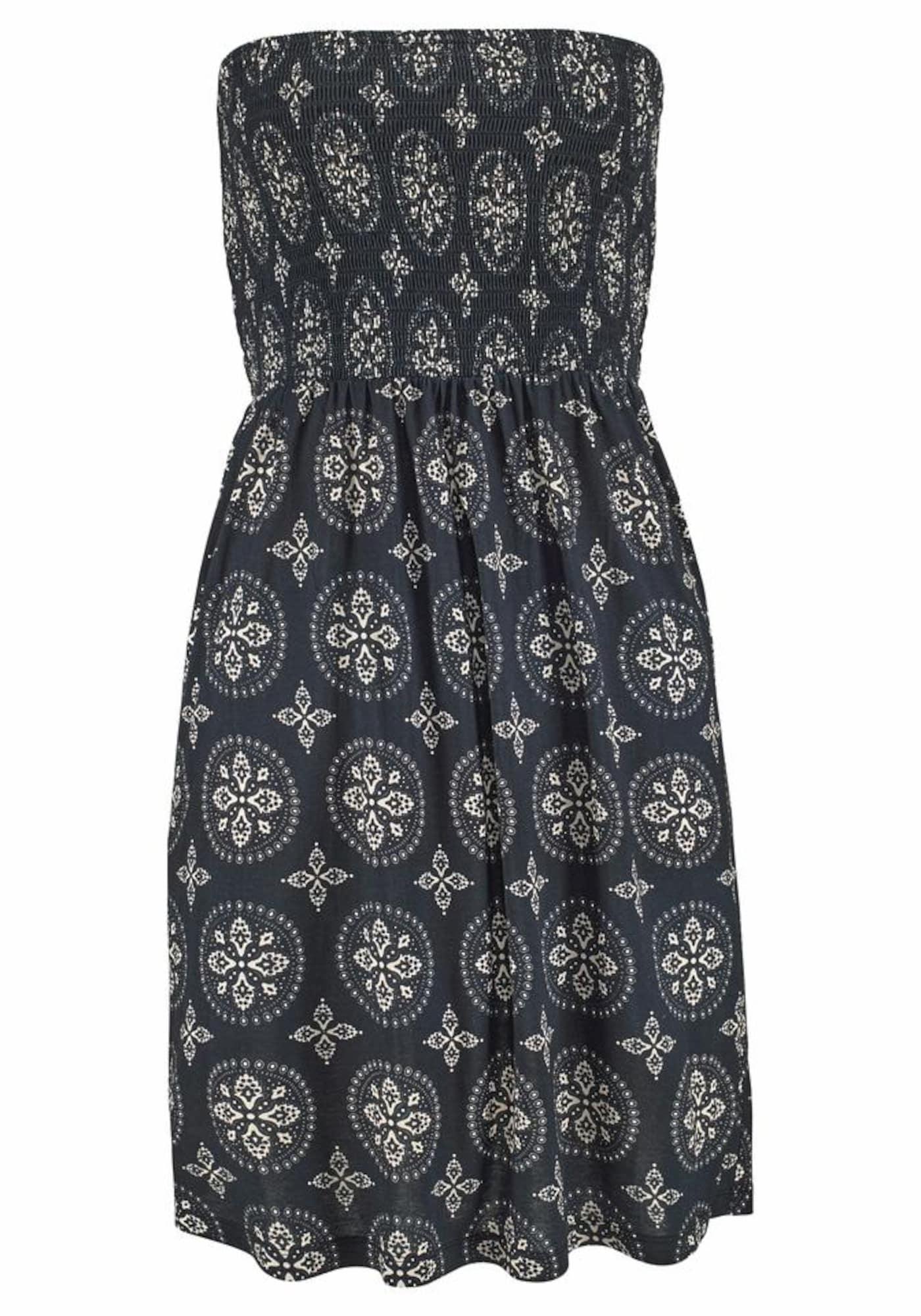 Plážové šaty krémová černá LASCANA