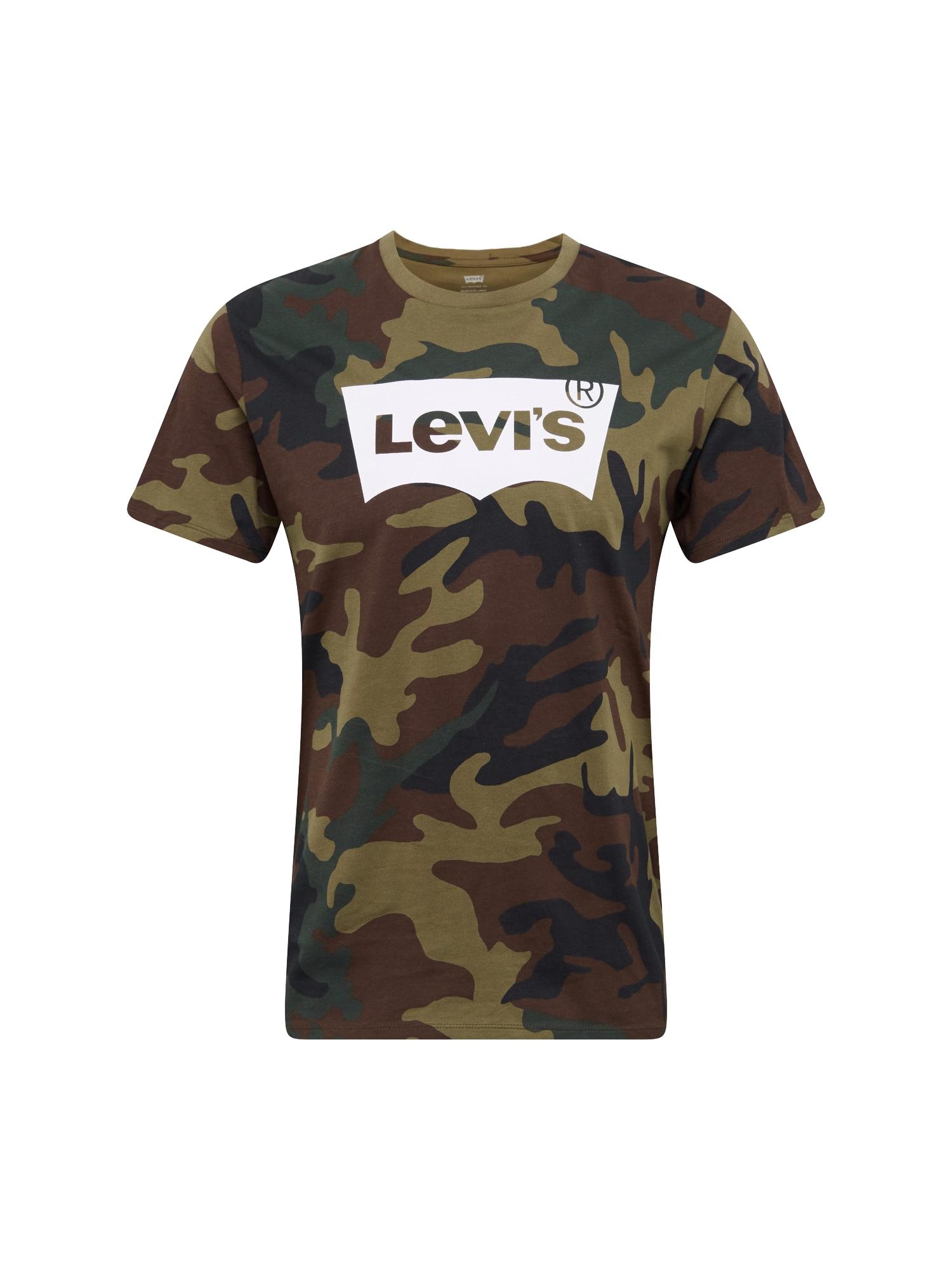 LEVIS Tričko HOUSEMARK GRAPHIC TEE tmavě zelená černá bílá LEVI'S