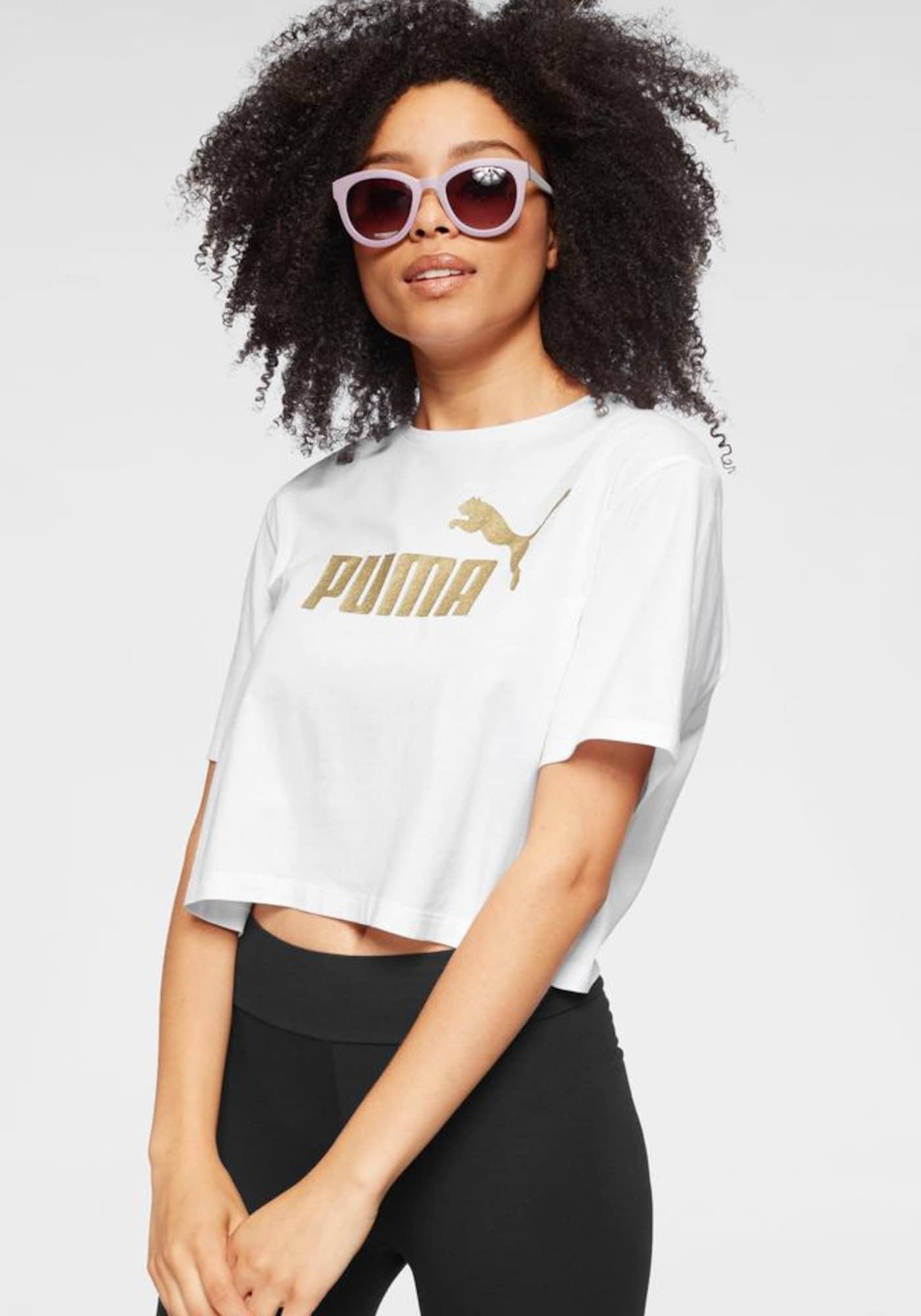 PUMA Funkčné tričko 'ESS Metallic'  biela / zlatá
