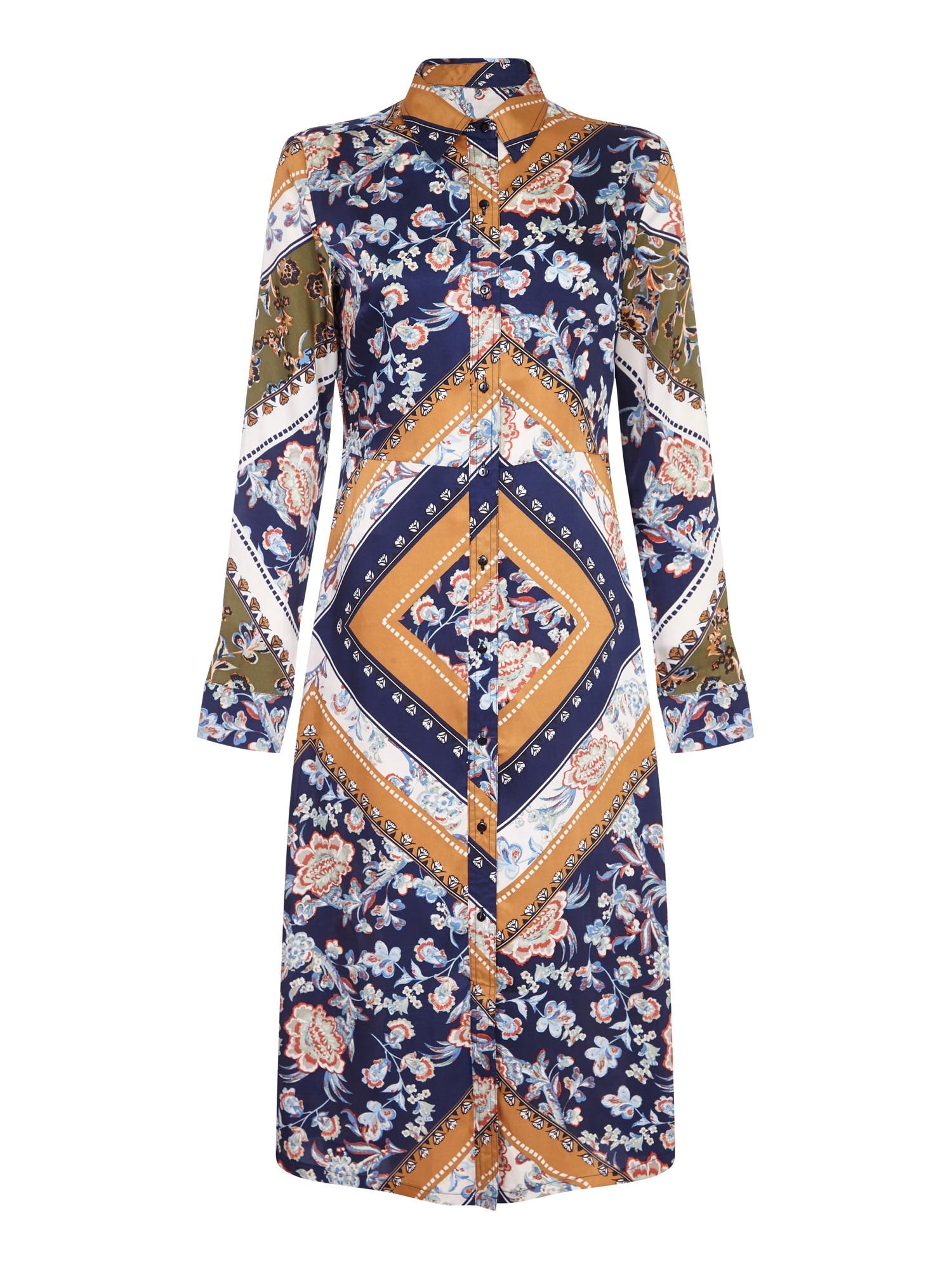 Letní šaty SCARF PRINT SHIRT DRESS námořnická modř okrová Mela London