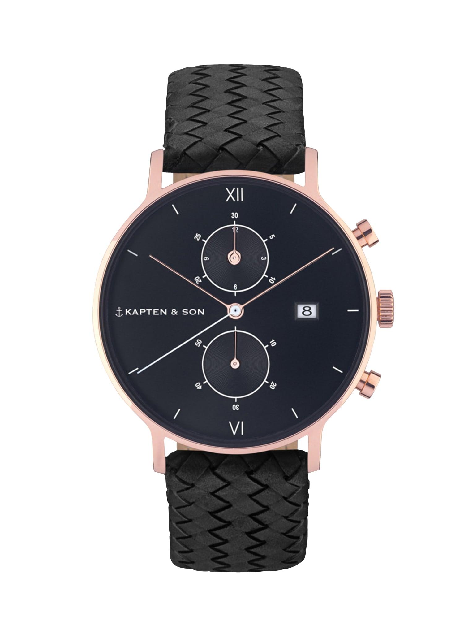 Analogové hodinky Chrono Woven černá Kapten & Son