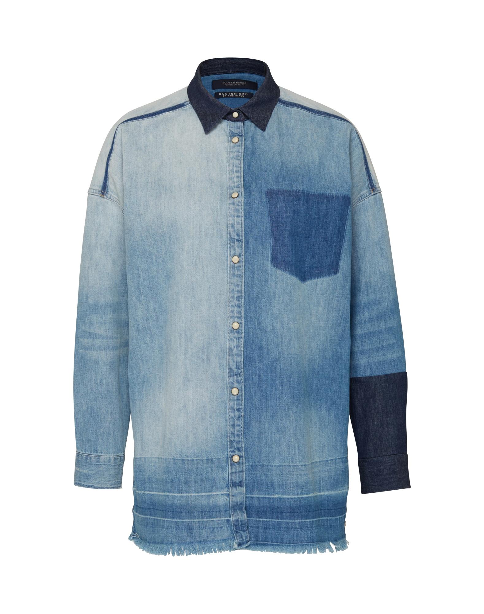 SCOTCH  and  SODA Dames Blouse Customised denim blauw