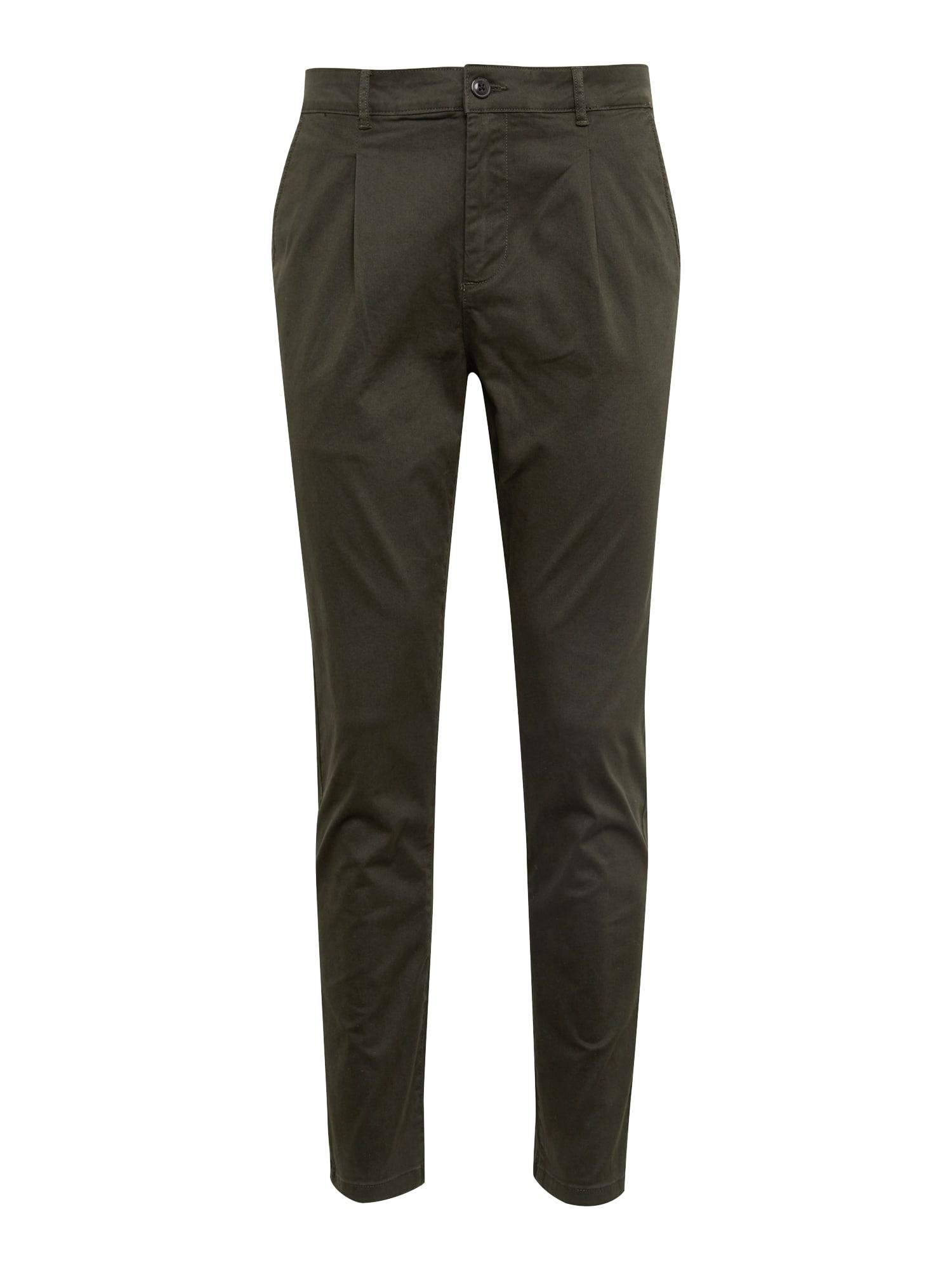 Kalhoty se sklady v pase KM-0718-0602 olivová KIOMI