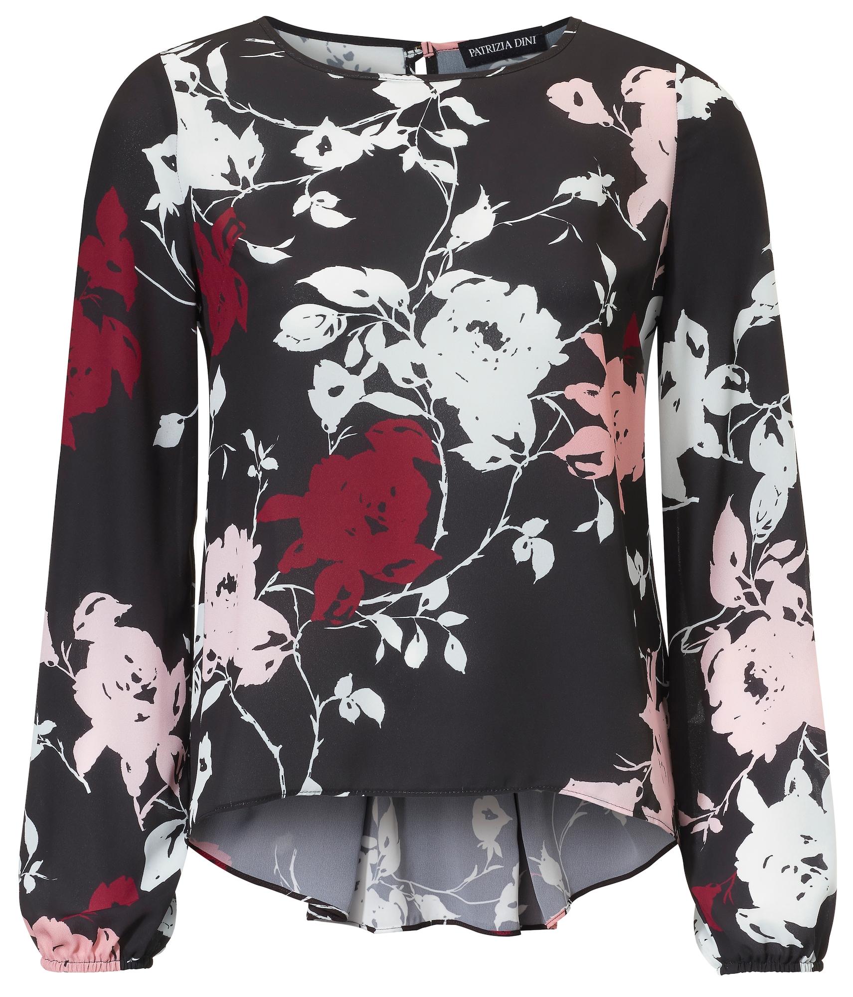 Druckbluse mit Schößchen   Bekleidung > Blusen > Druckblusen   Rot - Schwarz - Weiß   heine