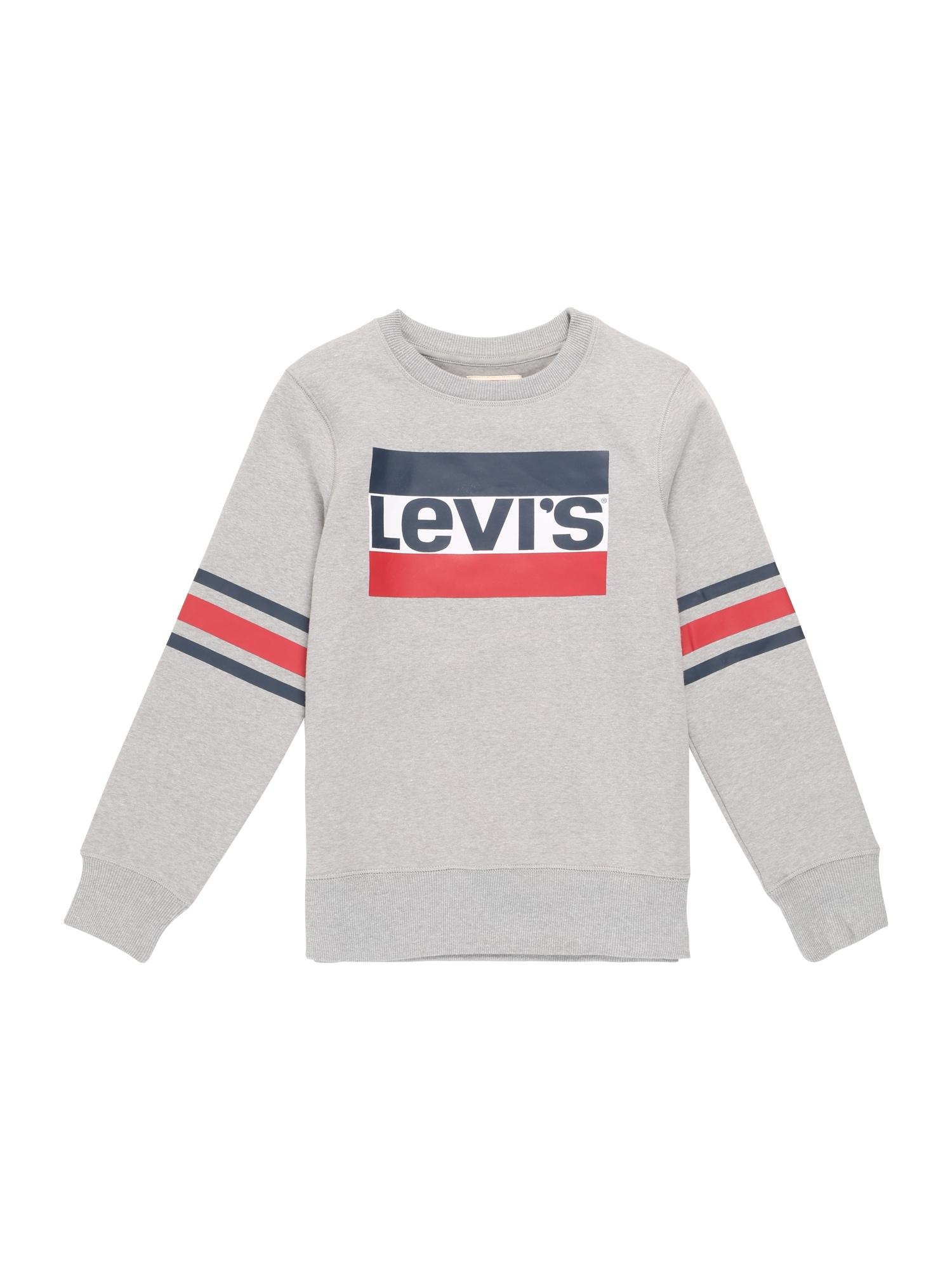 LEVI'S Mikina 'Sportswear Logo Striped Crew'  šedý melír