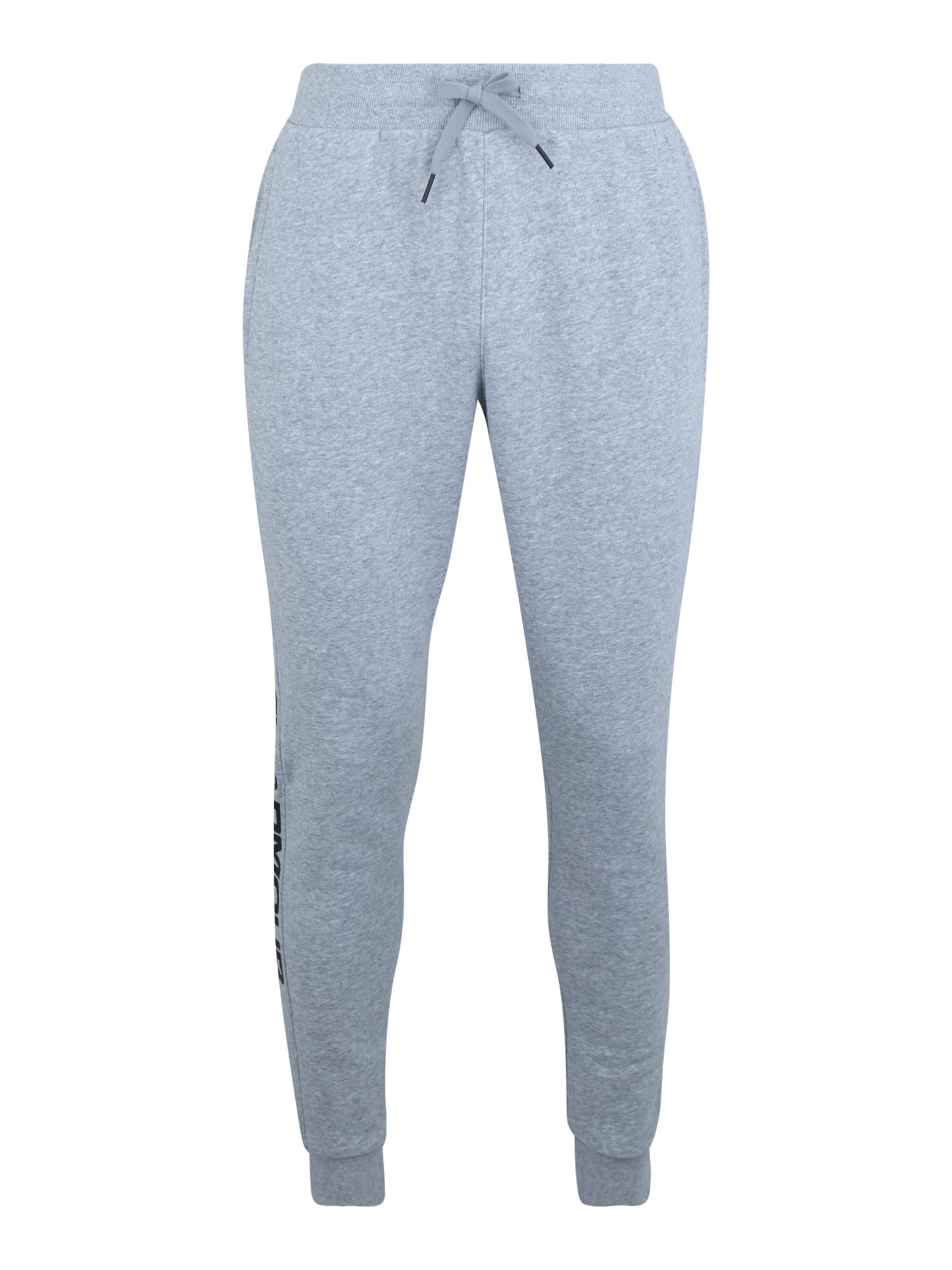UNDER ARMOUR Športové nohavice 'RIVAL FLEECE WORDMARK LOGO'  sivá melírovaná / čierna