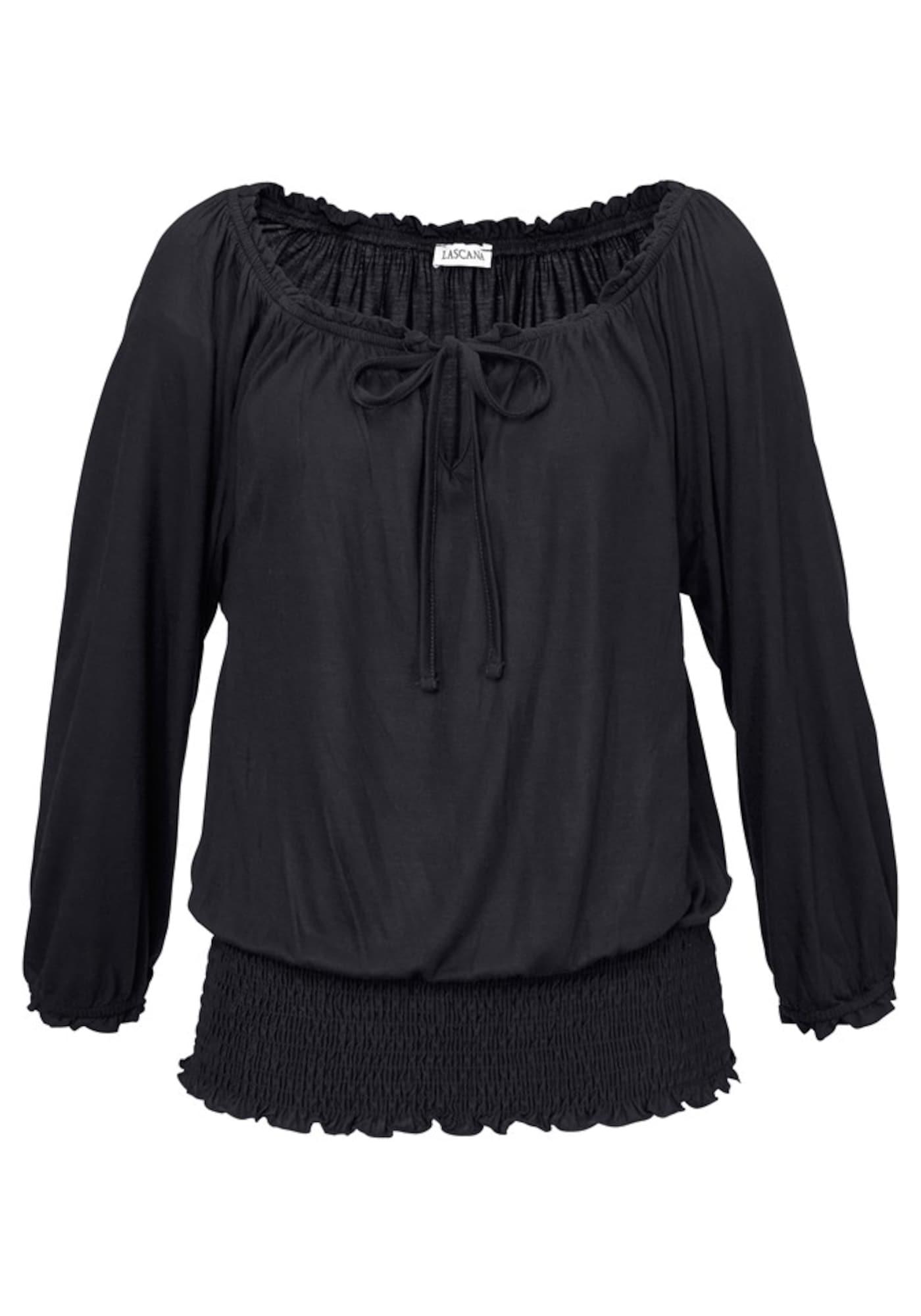 Carmenshirt | Bekleidung > Shirts > Carmenshirts & Wasserfallshirts | Schwarz | Lascana