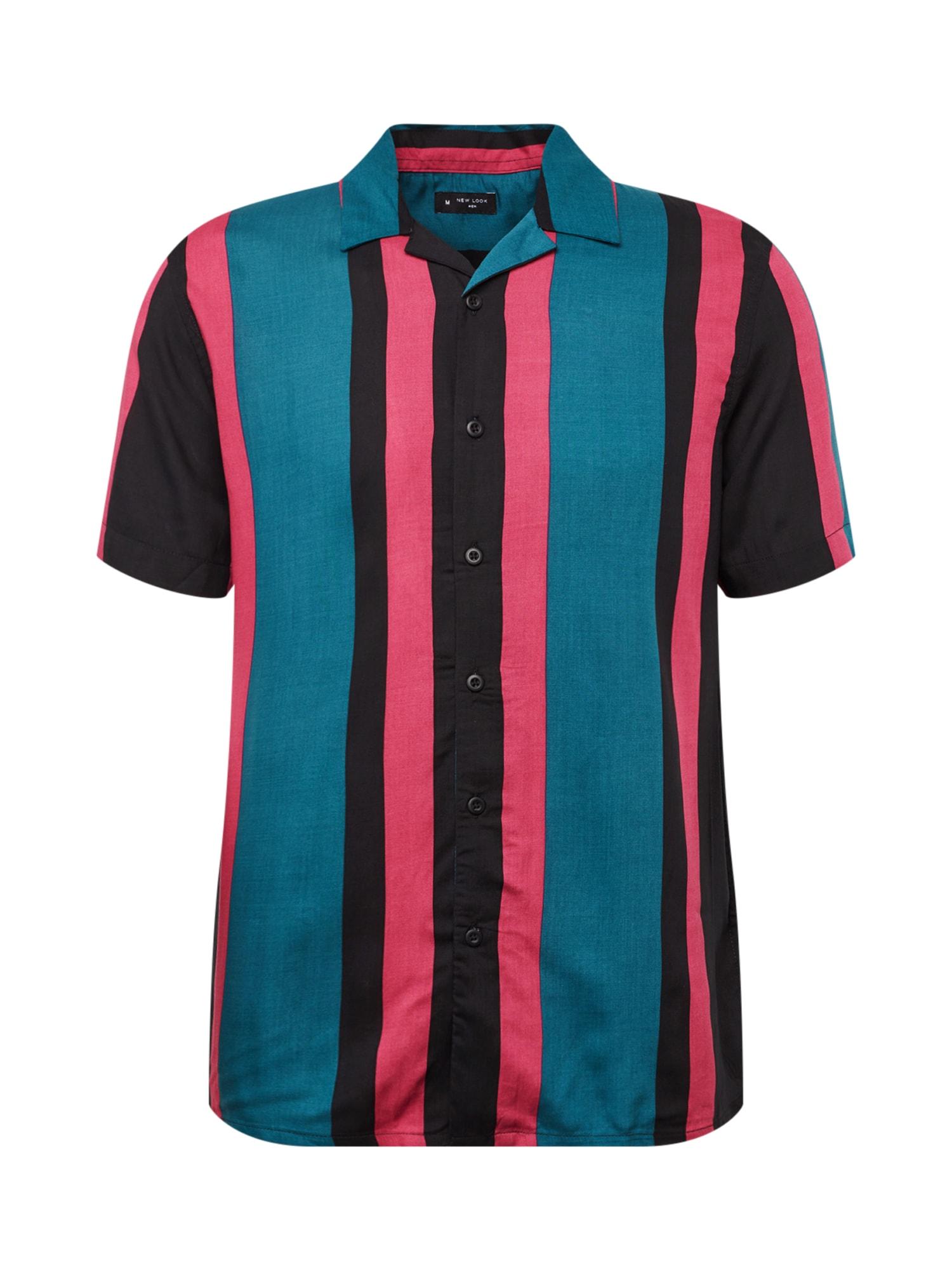 Košile RP FMA 10.08.18 SS STRIPEY STANLEY VISCOSE REVERE petrolejová růžová černá NEW LOOK