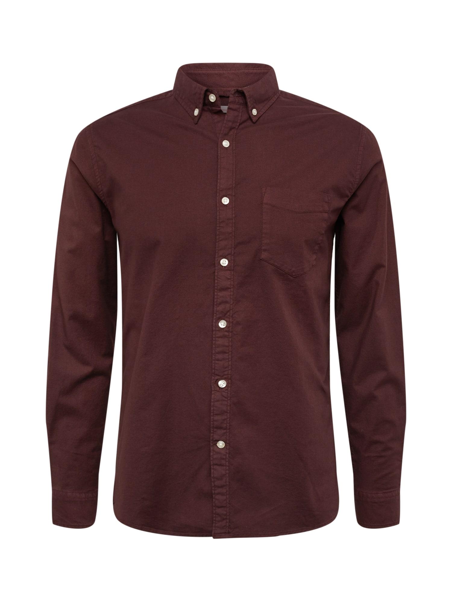Košile vínově červená KnowledgeCotton Apparel