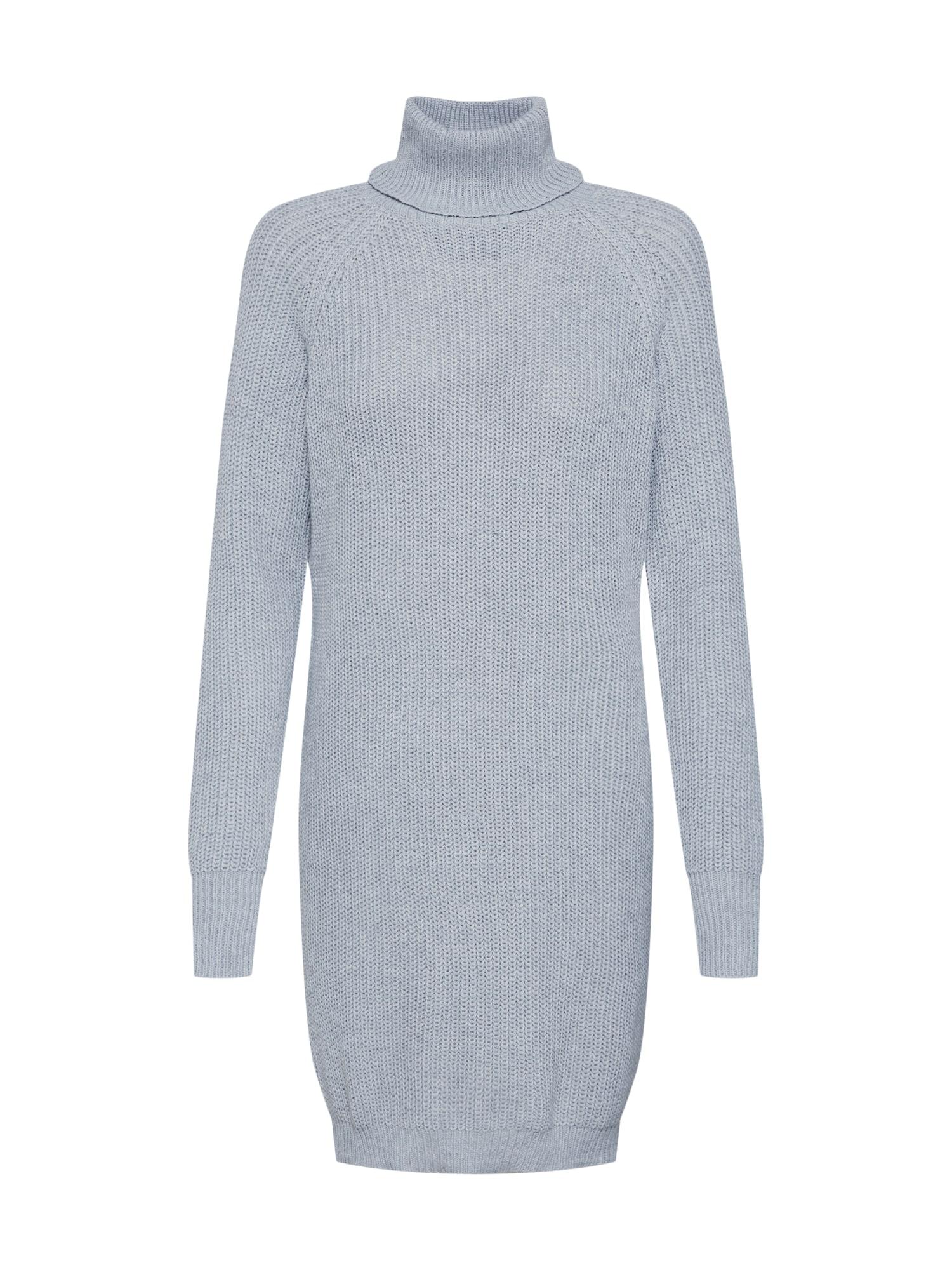 Úpletové šaty CHUNKY ROLL NECK JUMPER DRESS šedá Missguided