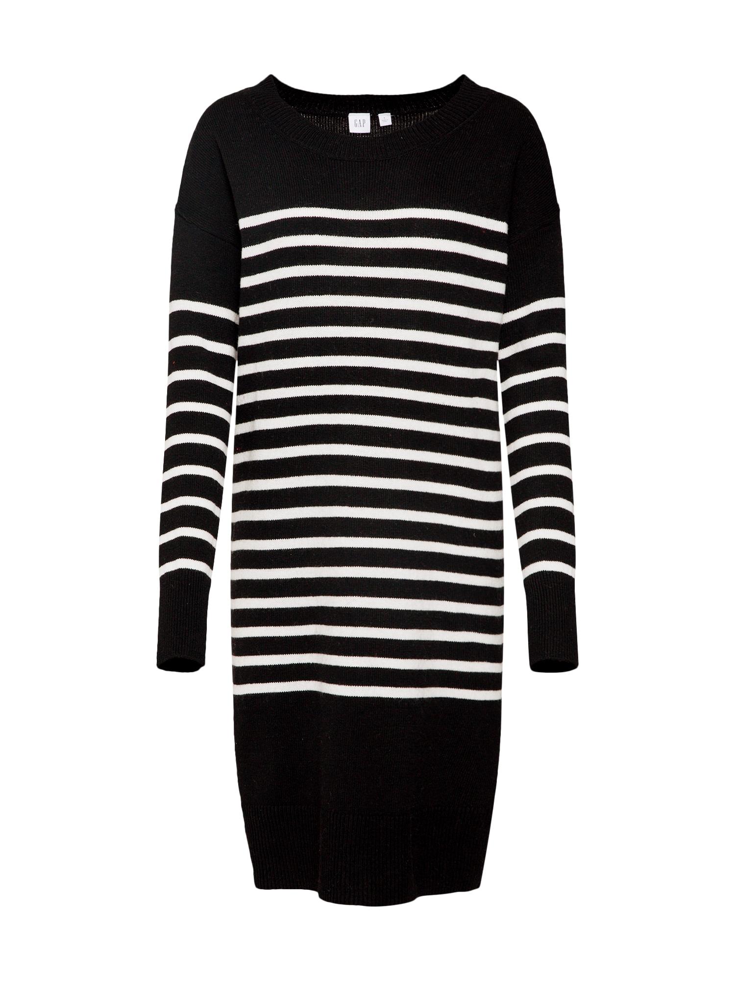 Úpletové šaty černá bílá GAP