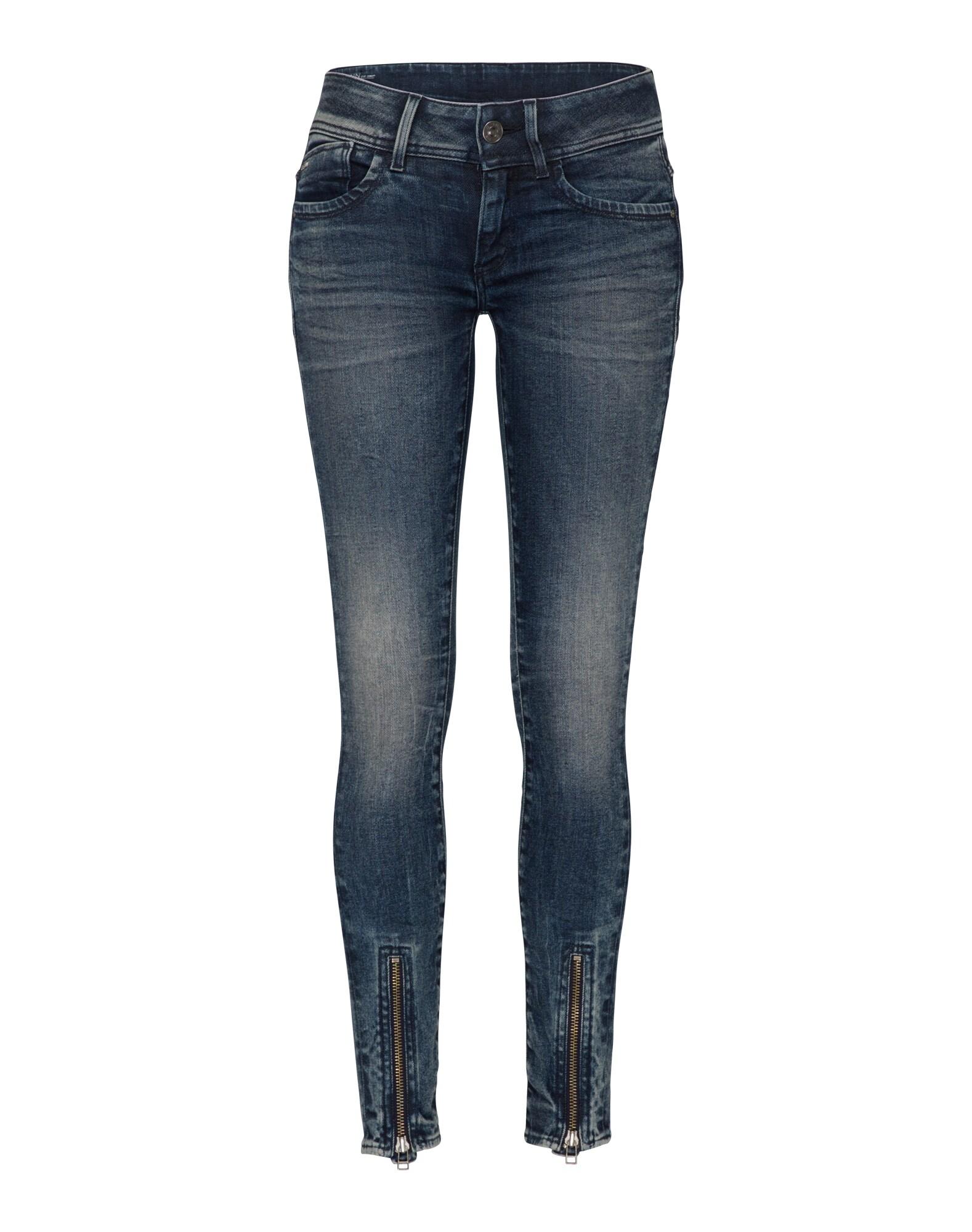 G-STAR RAW Dames Jeans Lynn Zip Grip Mid Skinny Wmn blue denim
