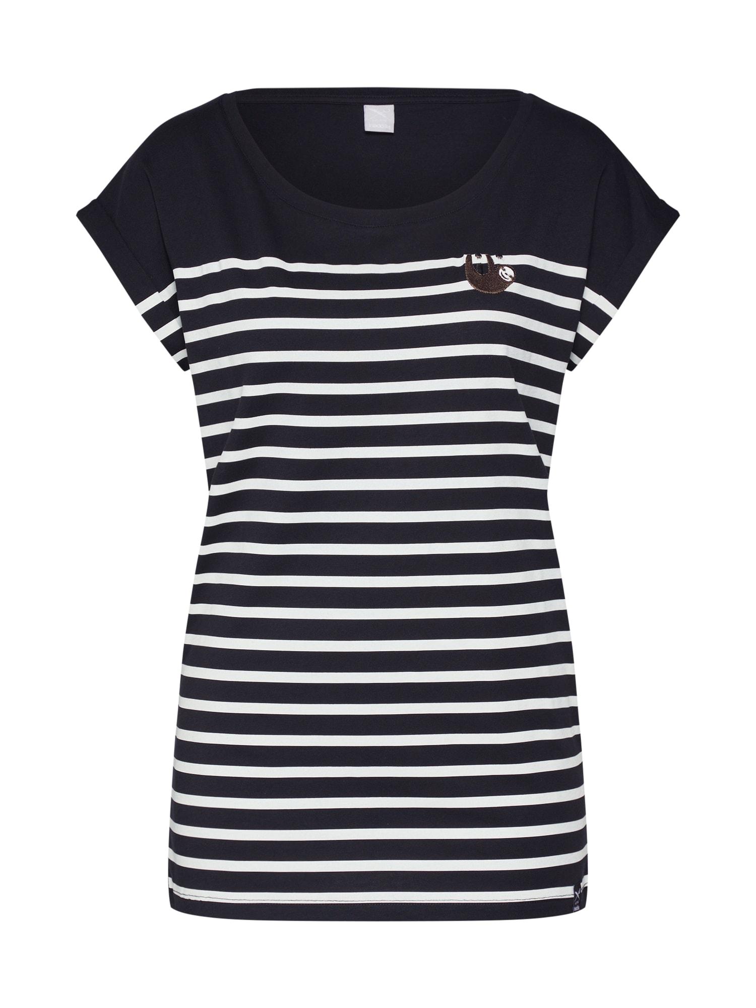 Iriedaily Tričko 'Slothy Stripe Tee'  bílá / černá
