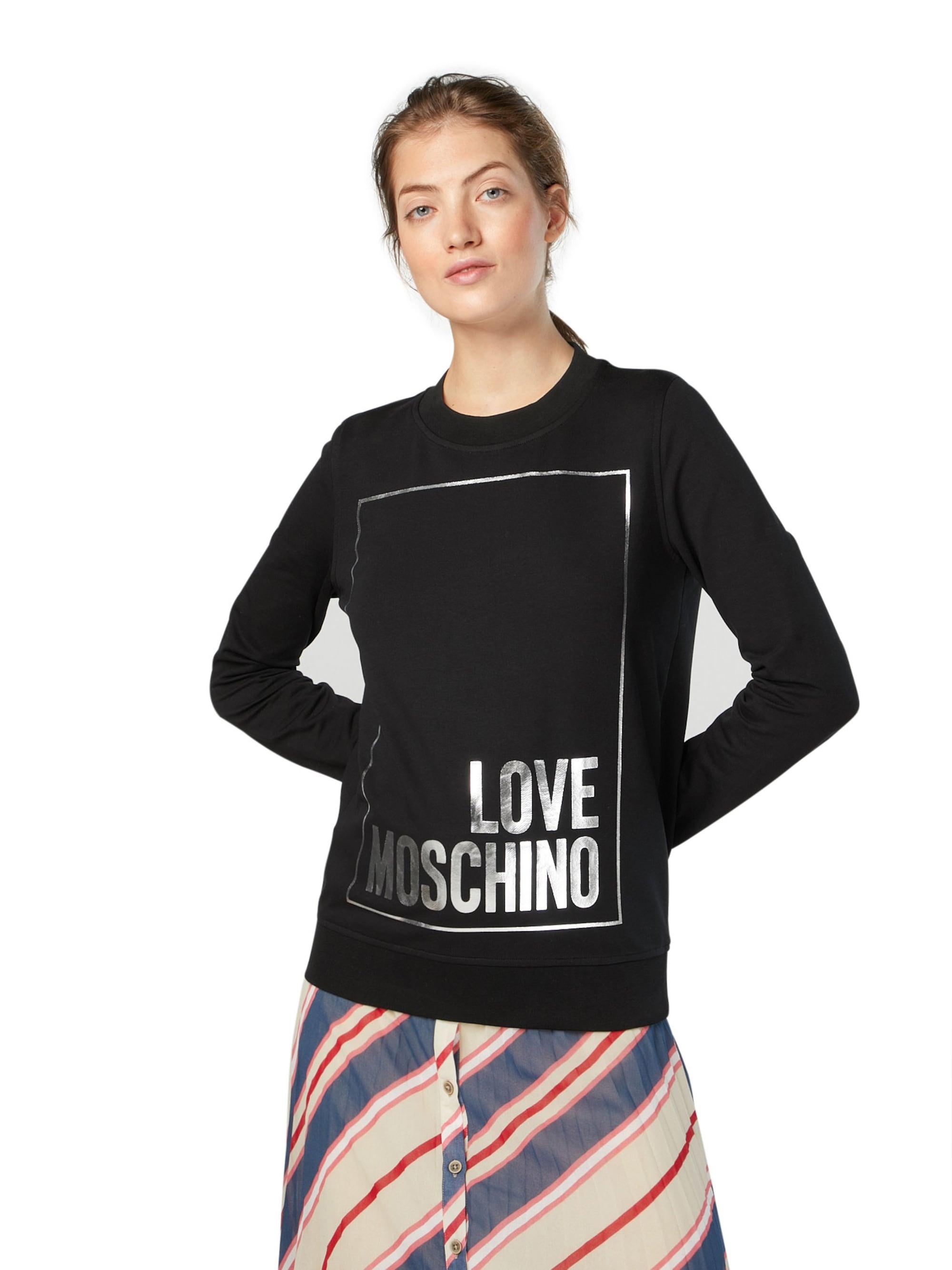 Love Moschino Bluzka sportowa  czarny / srebrny