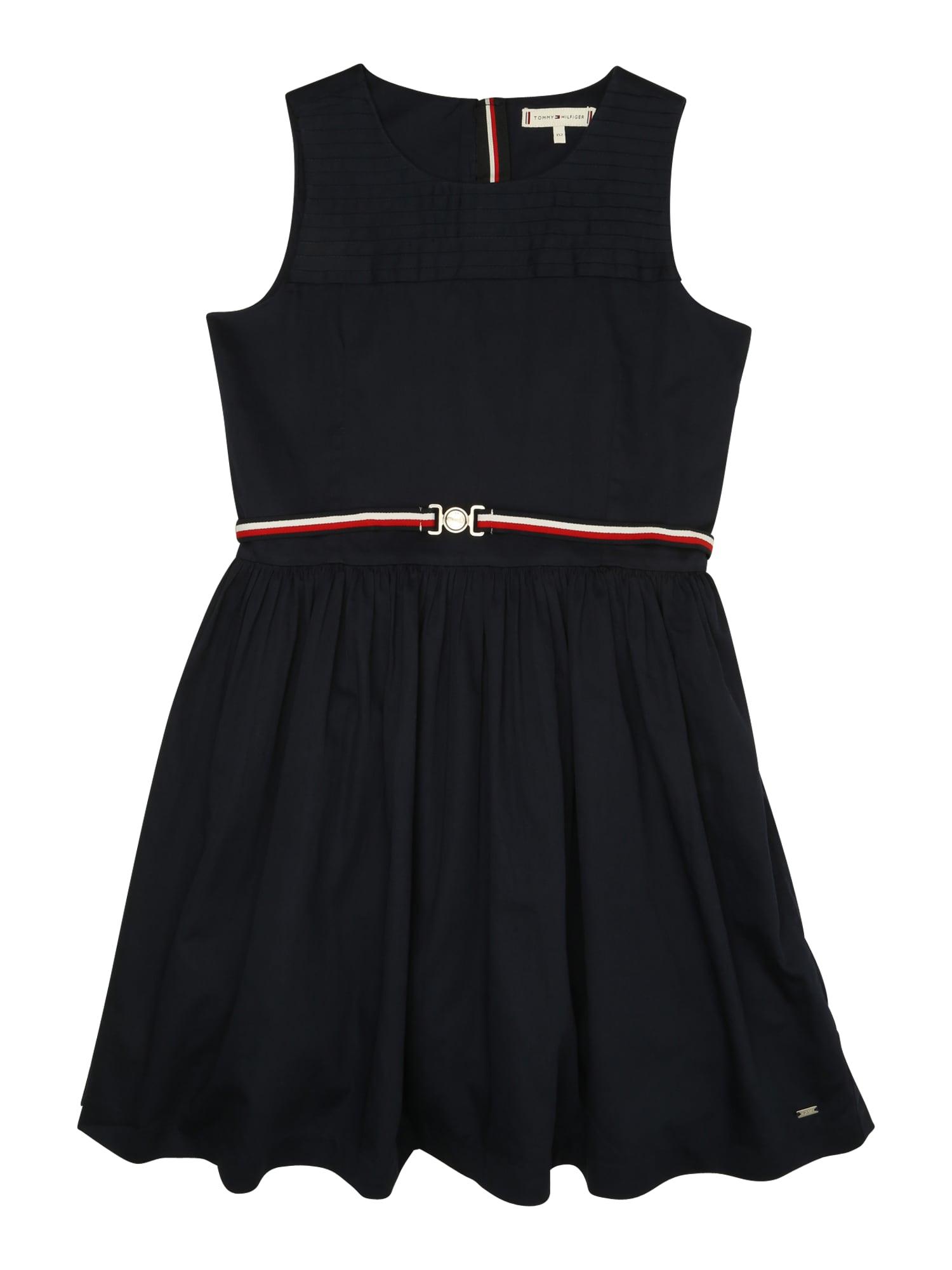 Šaty SIGNATURE PLEATS námořnická modř červená bílá TOMMY HILFIGER