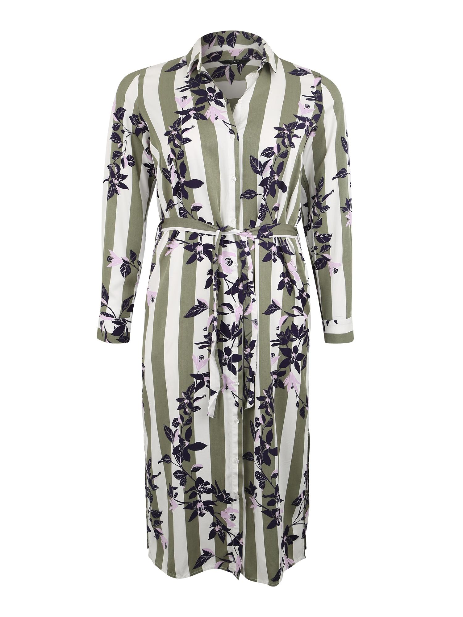 Košilové šaty olivová tmavě fialová bílá Vero Moda Curve